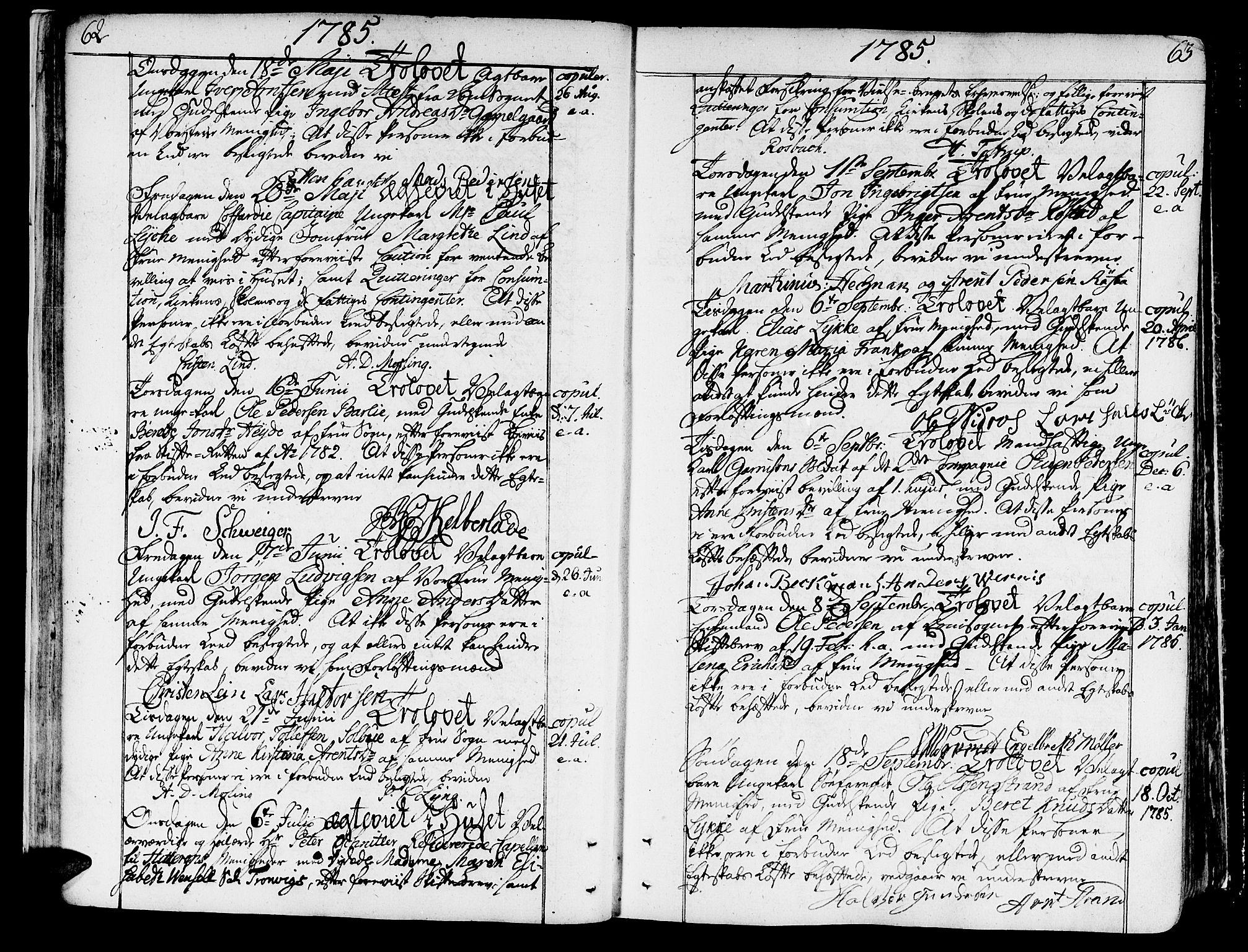 SAT, Ministerialprotokoller, klokkerbøker og fødselsregistre - Sør-Trøndelag, 602/L0105: Ministerialbok nr. 602A03, 1774-1814, s. 62-63