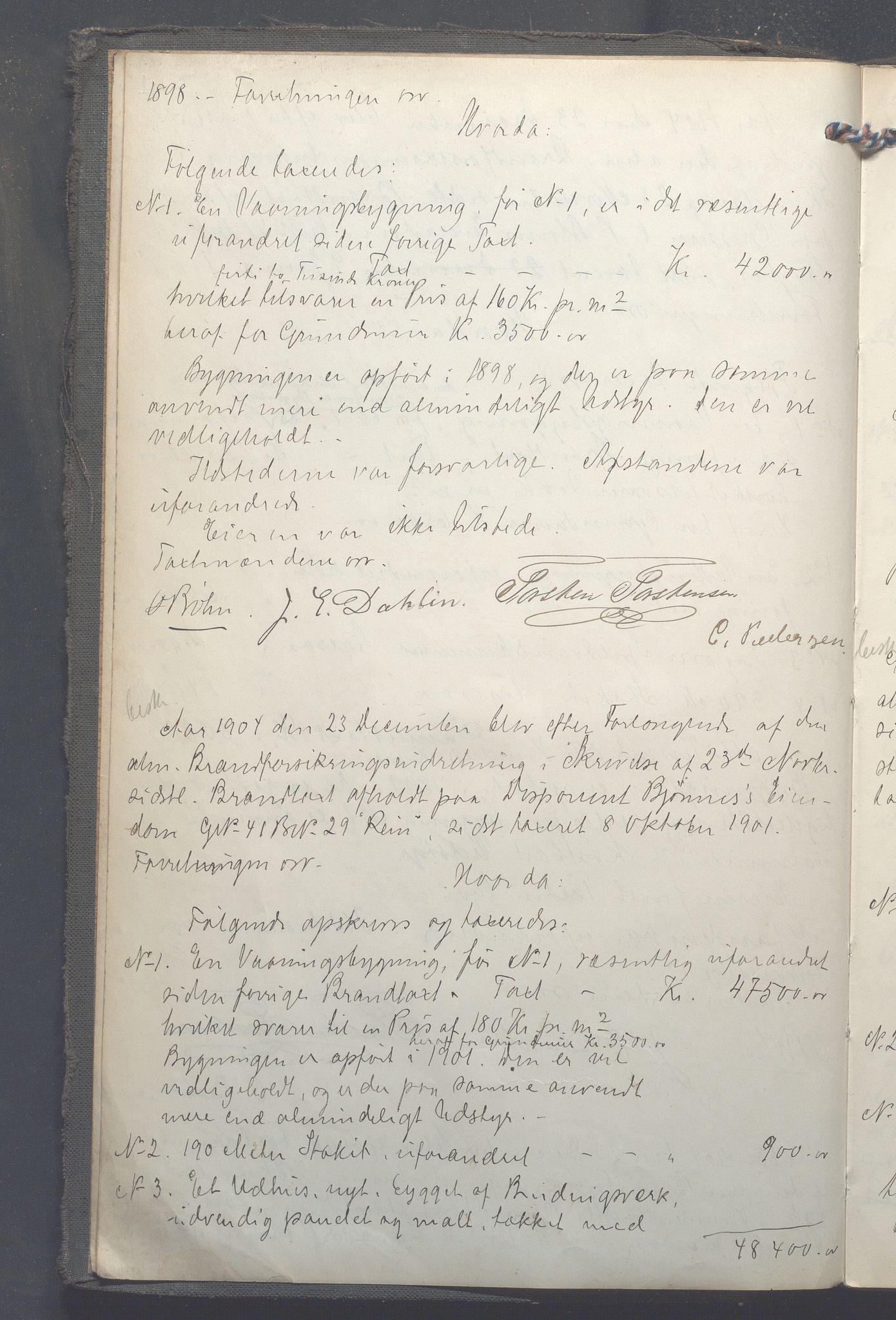 OBA, Lensmennene i Aker, F/Fa/L0012: Branntakstprotokoll, 1904-1910, s. 1b