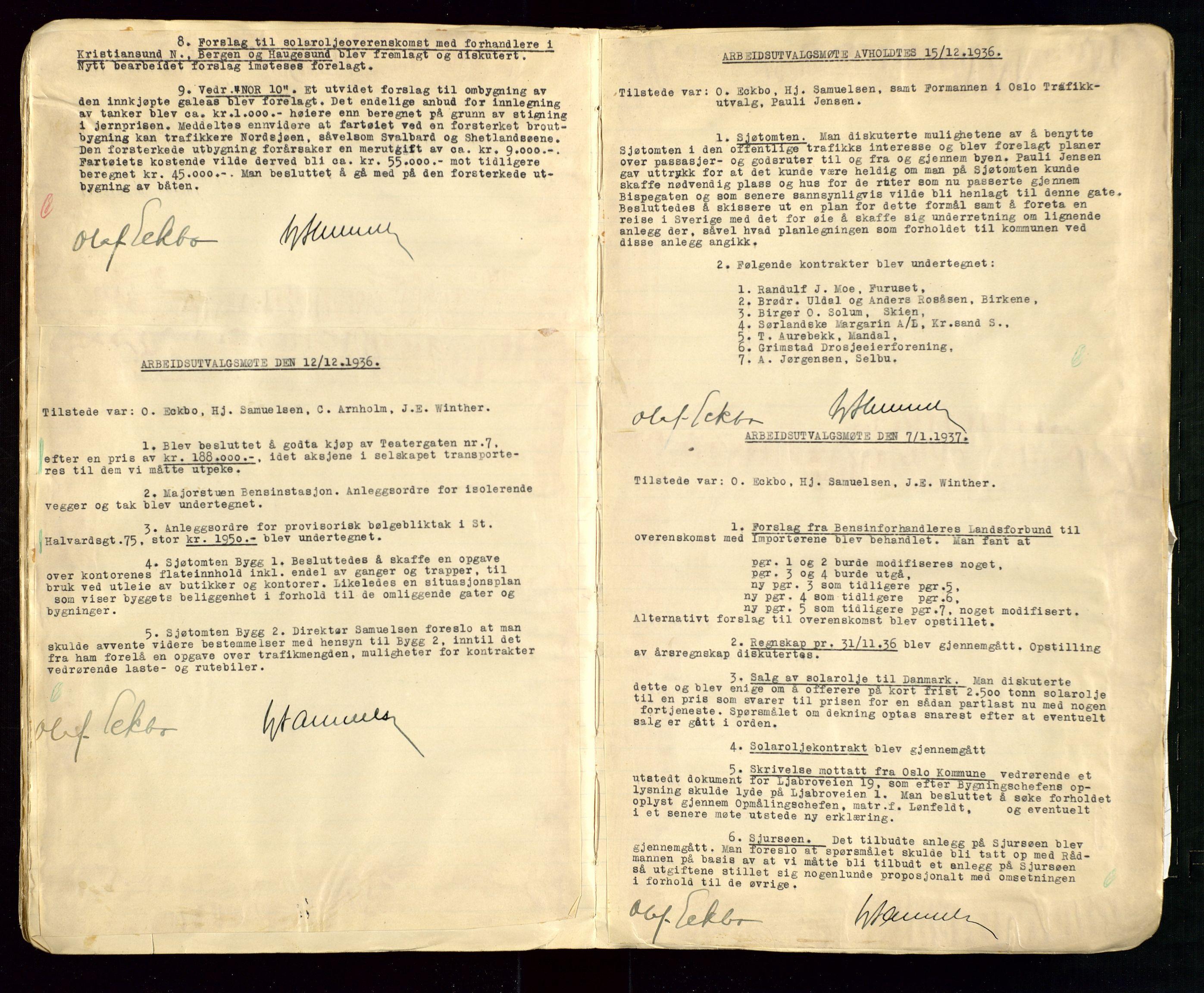 SAST, PA 1514 - Sporveienes Bensindepot, Norsk Oljeraffineri A/S, A/L0002: Forhandlingsprotokoll Arbeidsutvaget, 1932-1946, s. 60