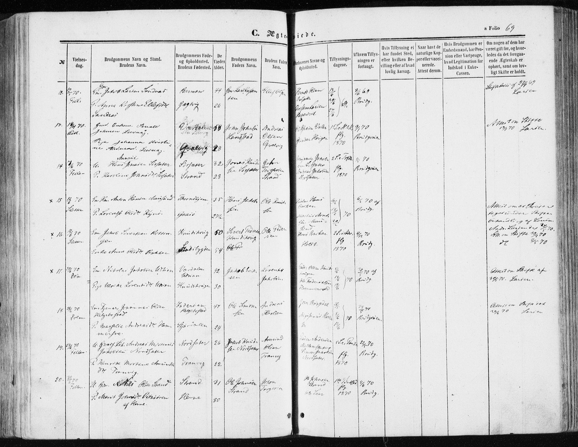 SAT, Ministerialprotokoller, klokkerbøker og fødselsregistre - Sør-Trøndelag, 634/L0531: Ministerialbok nr. 634A07, 1861-1870, s. 69