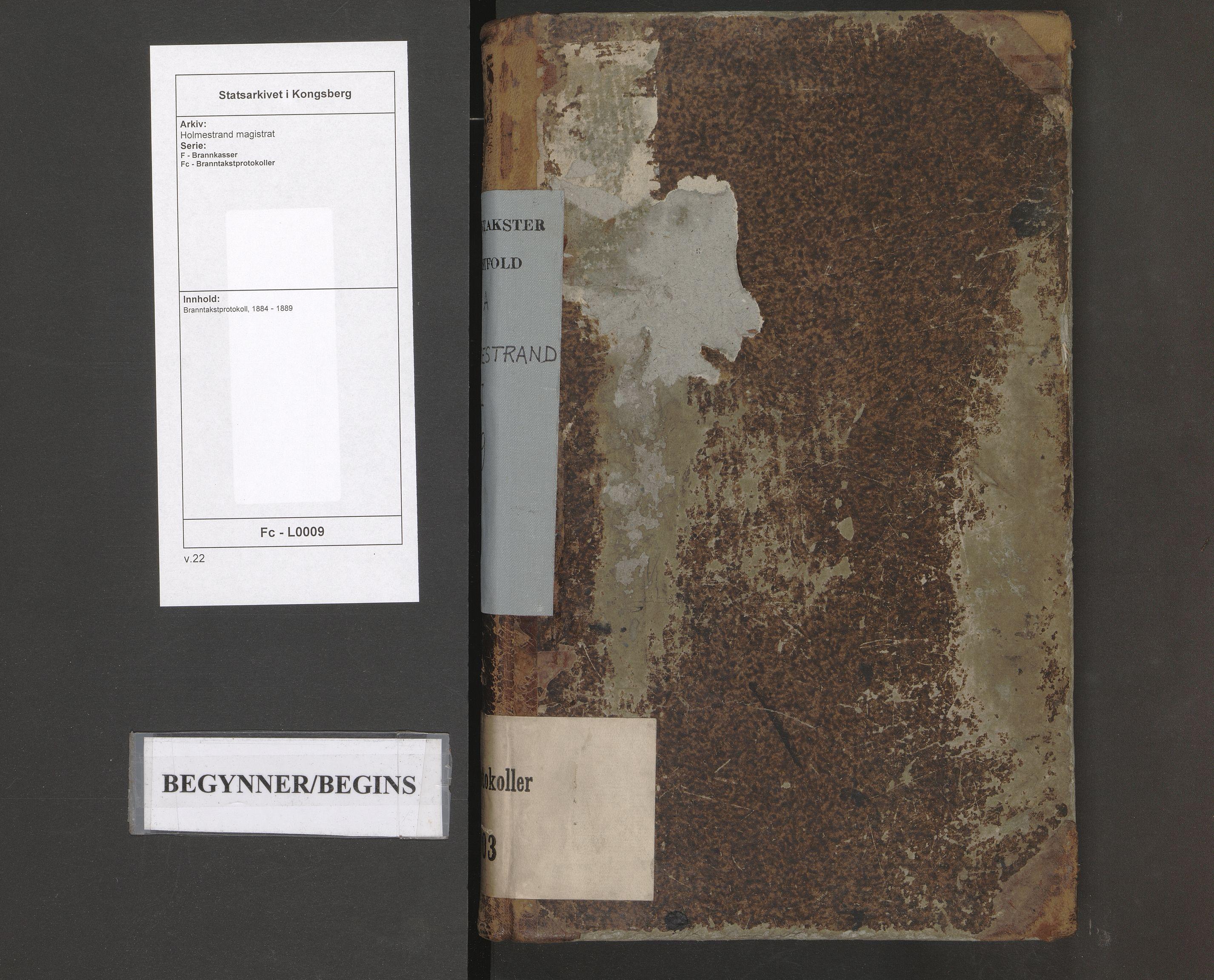 SAKO, Holmestrand magistrat, F/Fc/L0009: Branntakstprotokoll, 1884-1889