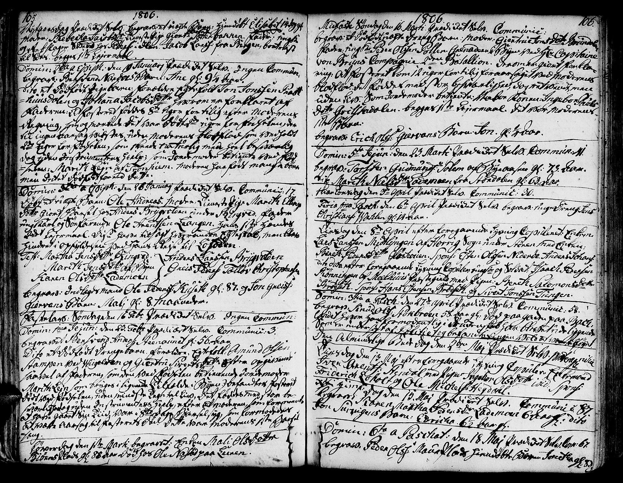 SAT, Ministerialprotokoller, klokkerbøker og fødselsregistre - Sør-Trøndelag, 606/L0280: Ministerialbok nr. 606A02 /1, 1781-1817, s. 105-106