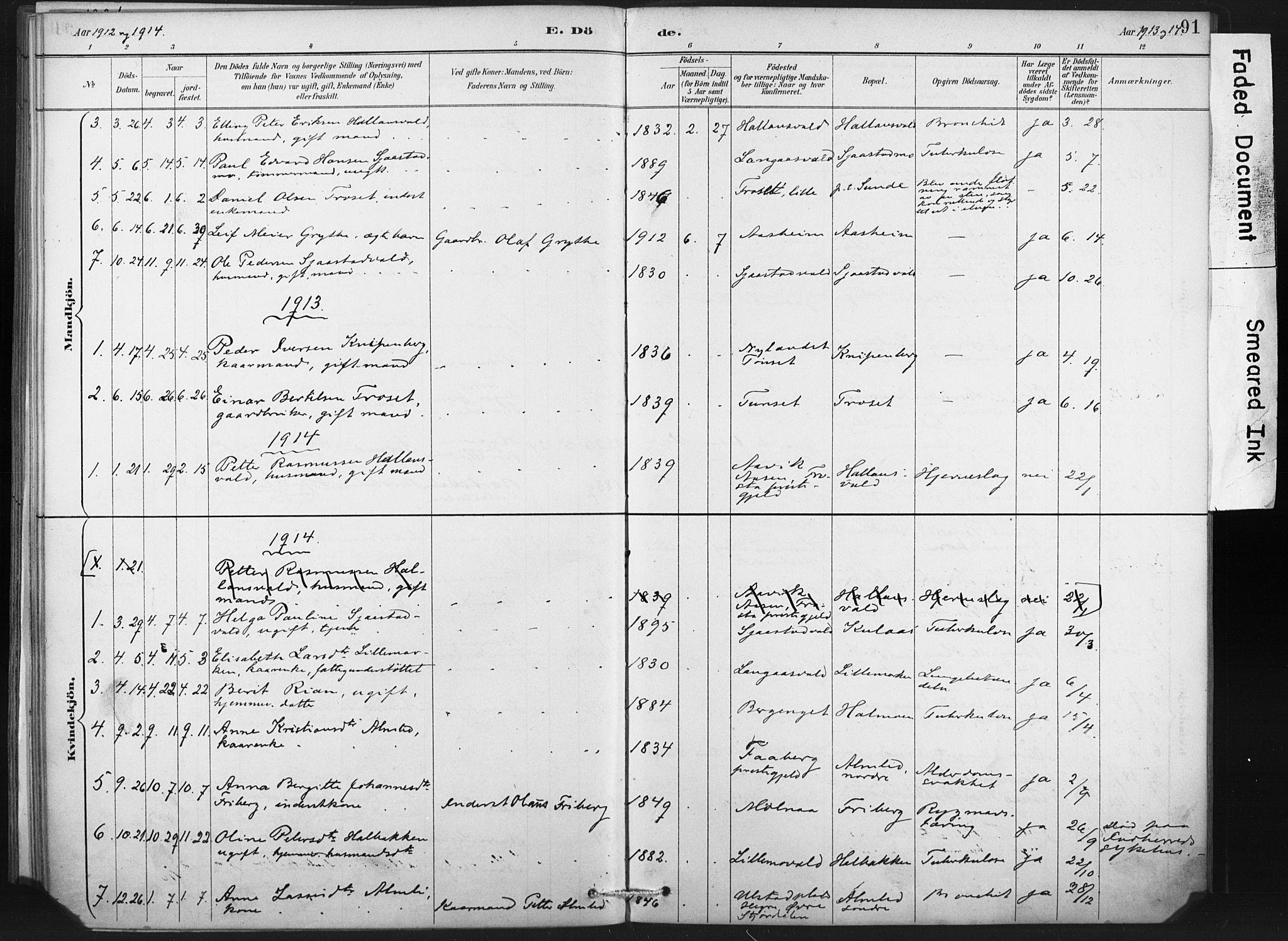 SAT, Ministerialprotokoller, klokkerbøker og fødselsregistre - Nord-Trøndelag, 718/L0175: Ministerialbok nr. 718A01, 1890-1923, s. 91
