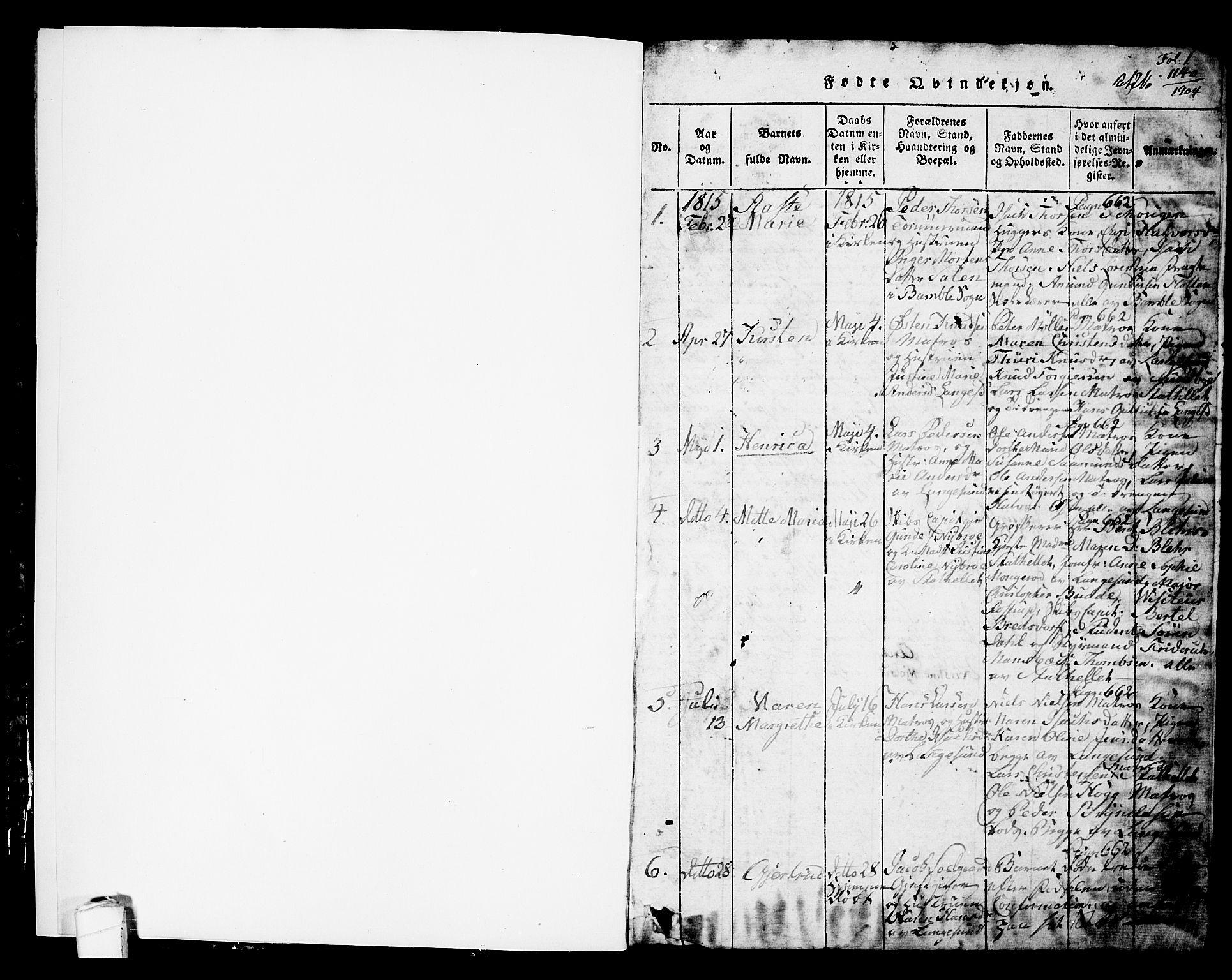 SAKO, Langesund kirkebøker, G/Ga/L0003: Klokkerbok nr. 3, 1815-1858, s. 1