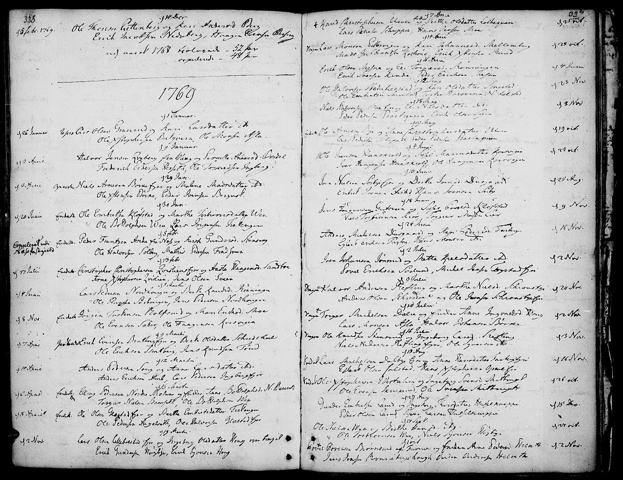 SAH, Ringsaker prestekontor, K/Ka/L0002: Ministerialbok nr. 2, 1747-1774, s. 338-339