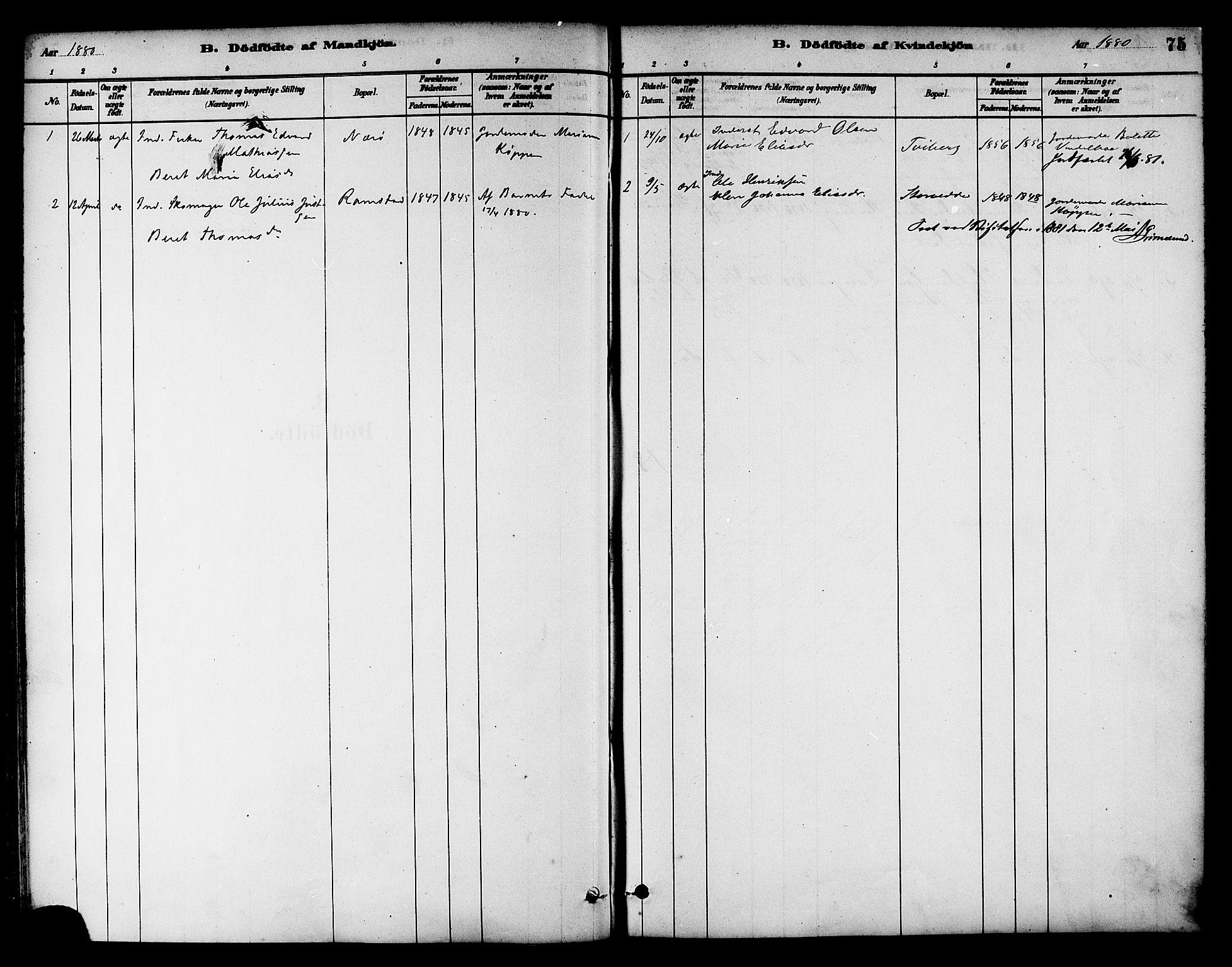 SAT, Ministerialprotokoller, klokkerbøker og fødselsregistre - Nord-Trøndelag, 784/L0672: Ministerialbok nr. 784A07, 1880-1887, s. 75