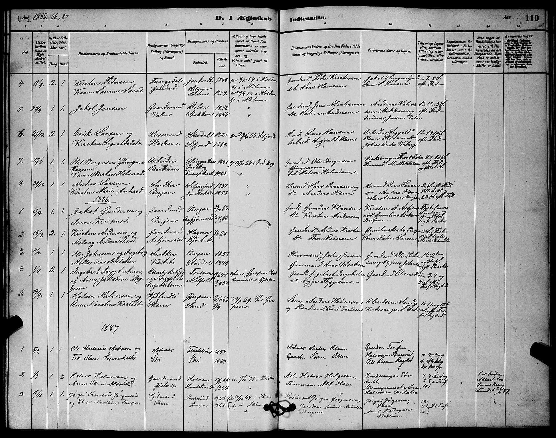 SAKO, Solum kirkebøker, G/Gb/L0003: Klokkerbok nr. II 3, 1880-1898, s. 110