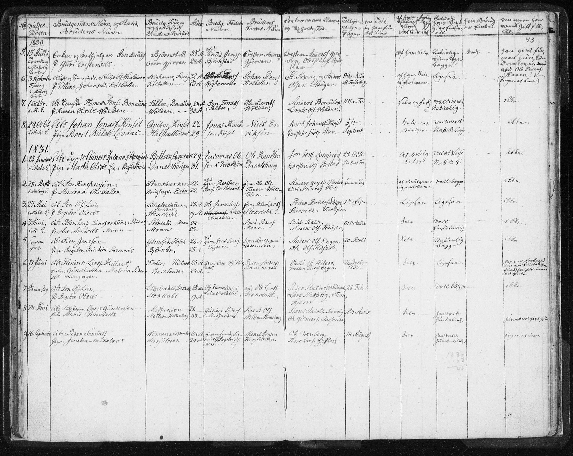 SAT, Ministerialprotokoller, klokkerbøker og fødselsregistre - Sør-Trøndelag, 616/L0404: Ministerialbok nr. 616A01, 1823-1831, s. 43