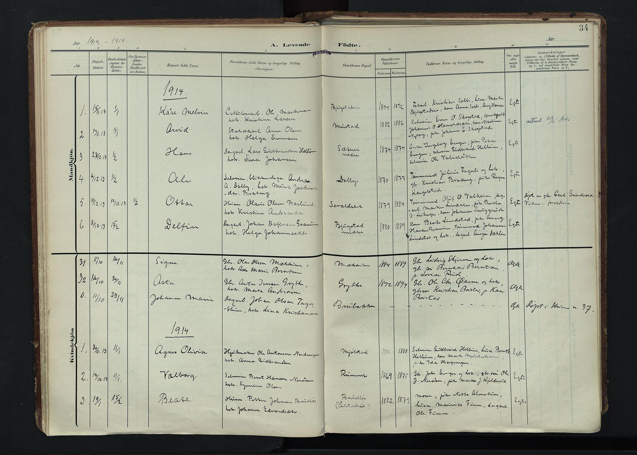 SAH, Vardal prestekontor, H/Ha/Haa/L0020: Ministerialbok nr. 20, 1907-1921, s. 34
