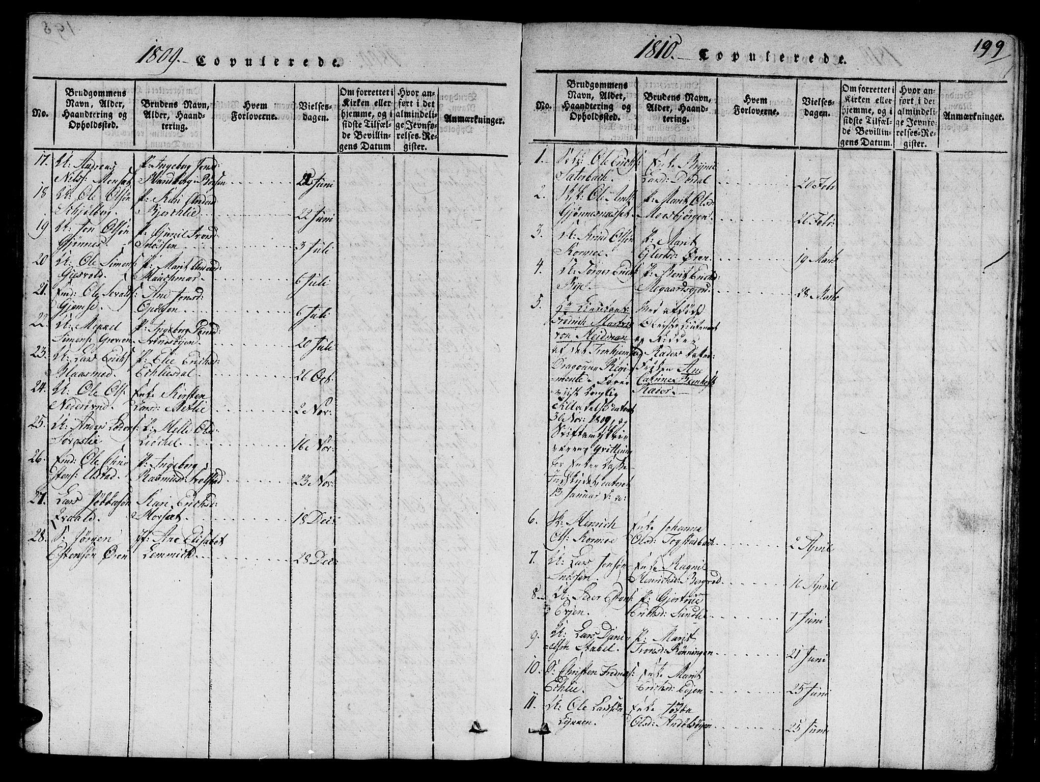 SAT, Ministerialprotokoller, klokkerbøker og fødselsregistre - Sør-Trøndelag, 668/L0803: Ministerialbok nr. 668A03, 1800-1826, s. 199