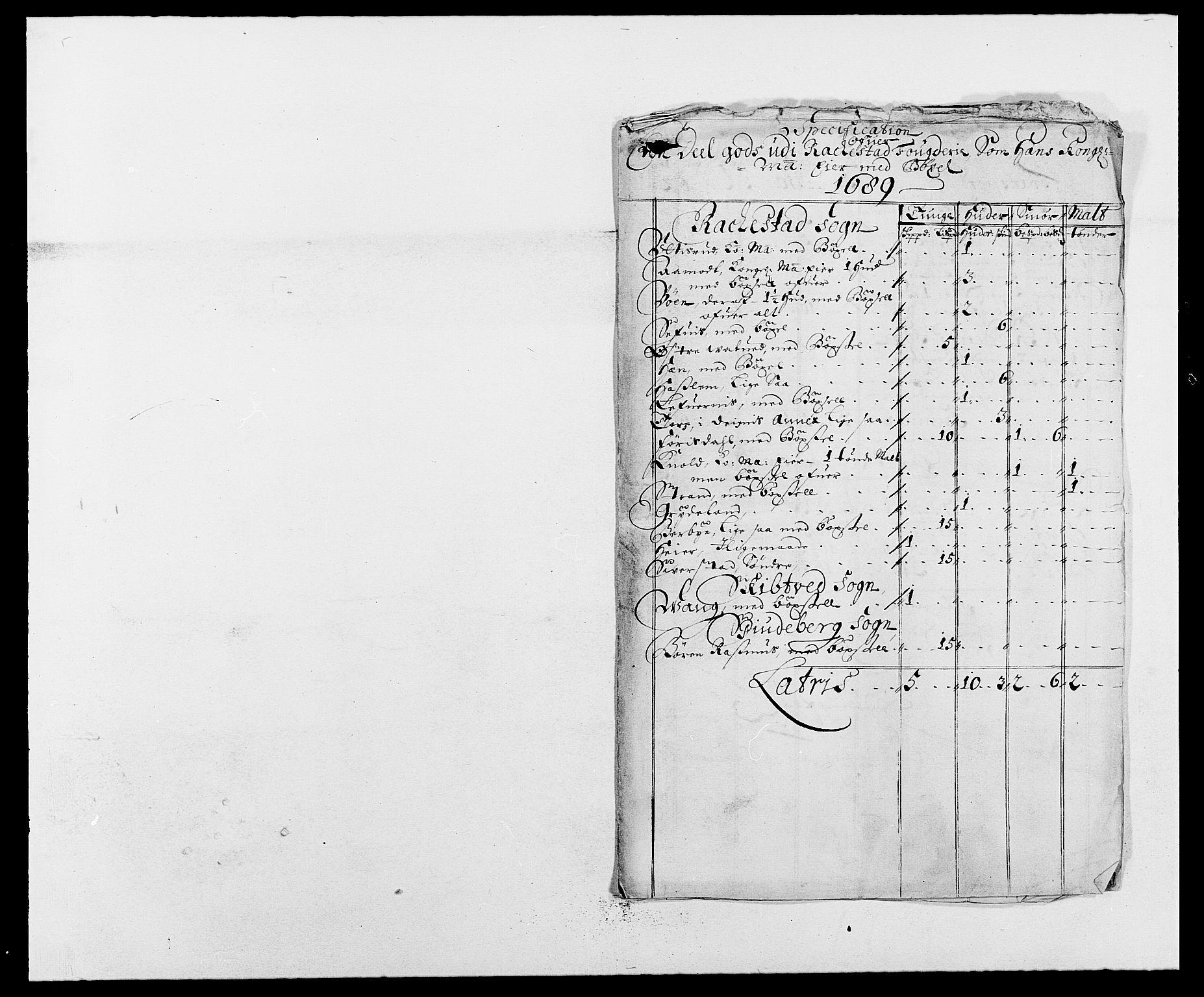 RA, Rentekammeret inntil 1814, Reviderte regnskaper, Fogderegnskap, R05/L0277: Fogderegnskap Rakkestad, 1689-1690, s. 38