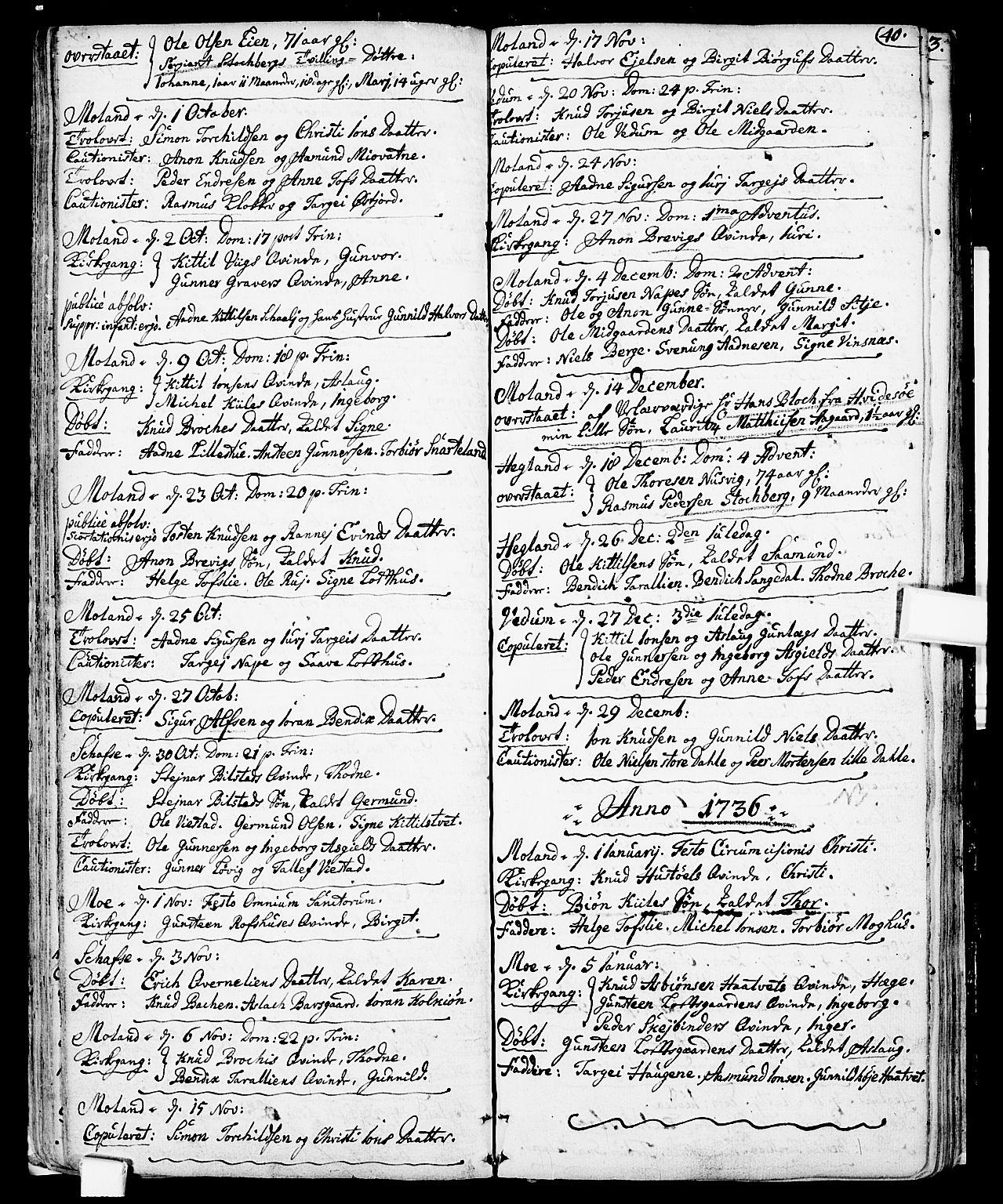 SAKO, Fyresdal kirkebøker, F/Fa/L0001: Ministerialbok nr. I 1, 1724-1748, s. 40