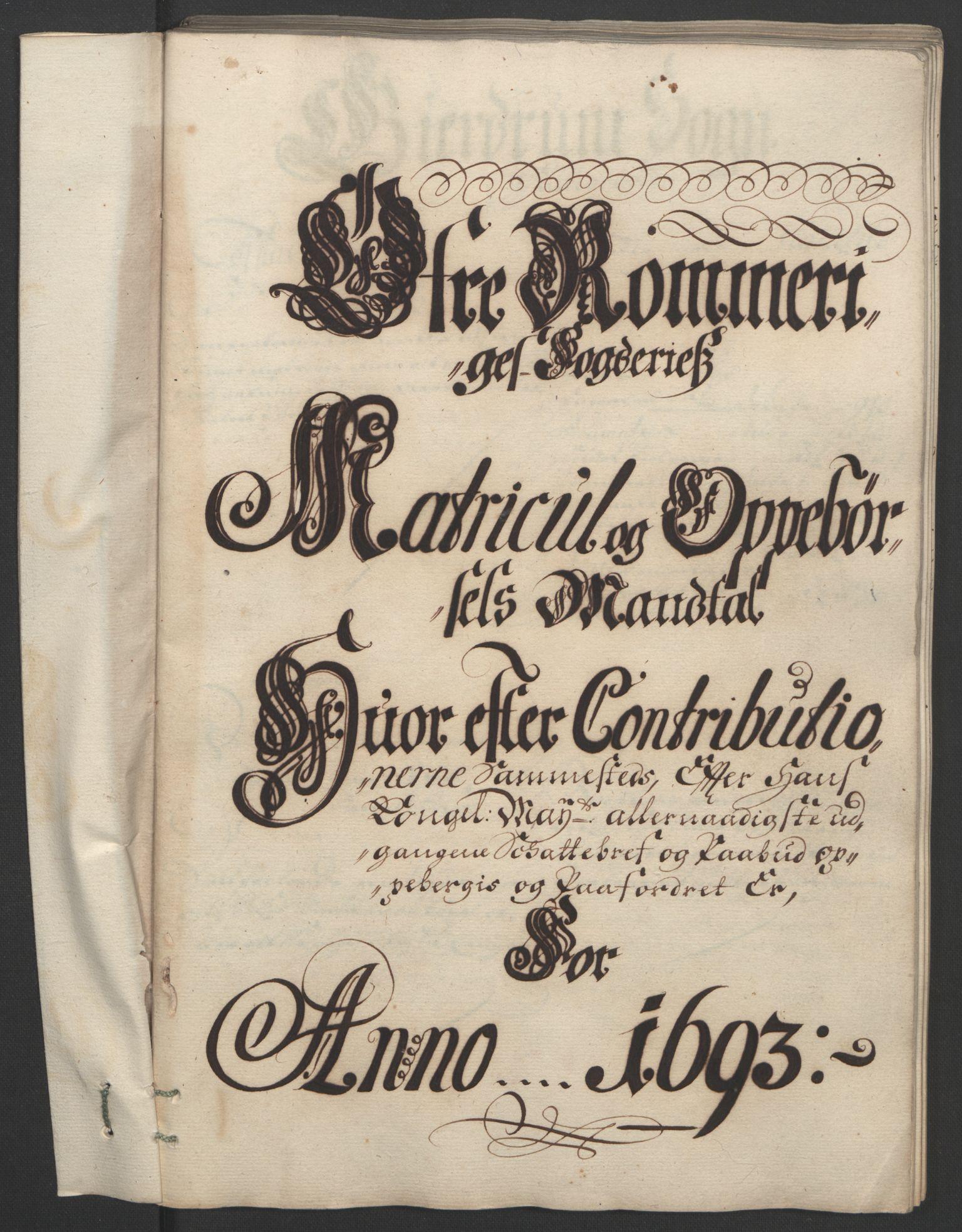 RA, Rentekammeret inntil 1814, Reviderte regnskaper, Fogderegnskap, R12/L0705: Fogderegnskap Øvre Romerike, 1693, s. 74