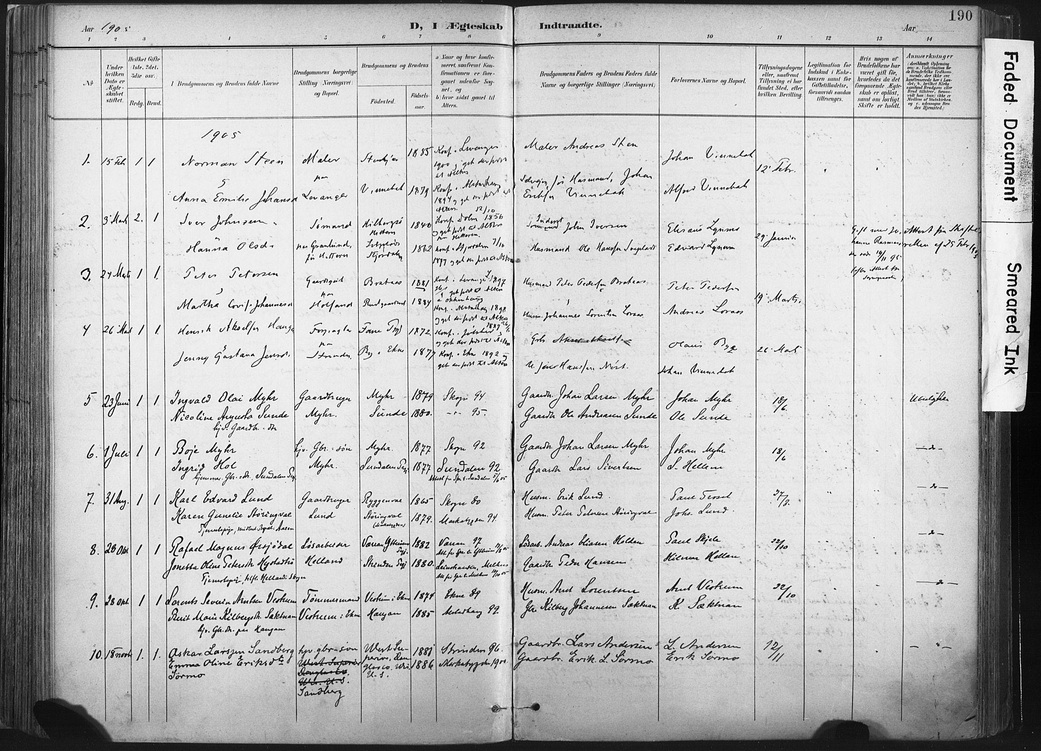 SAT, Ministerialprotokoller, klokkerbøker og fødselsregistre - Nord-Trøndelag, 717/L0162: Ministerialbok nr. 717A12, 1898-1923, s. 190