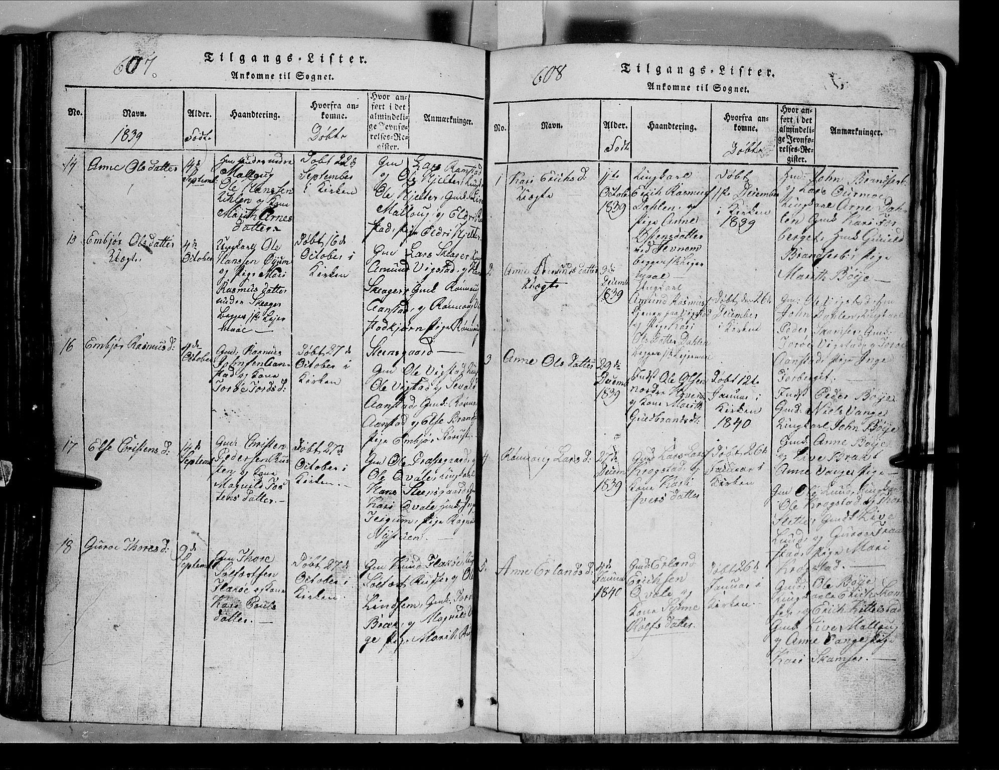 SAH, Lom prestekontor, L/L0003: Klokkerbok nr. 3, 1815-1844, s. 607-608