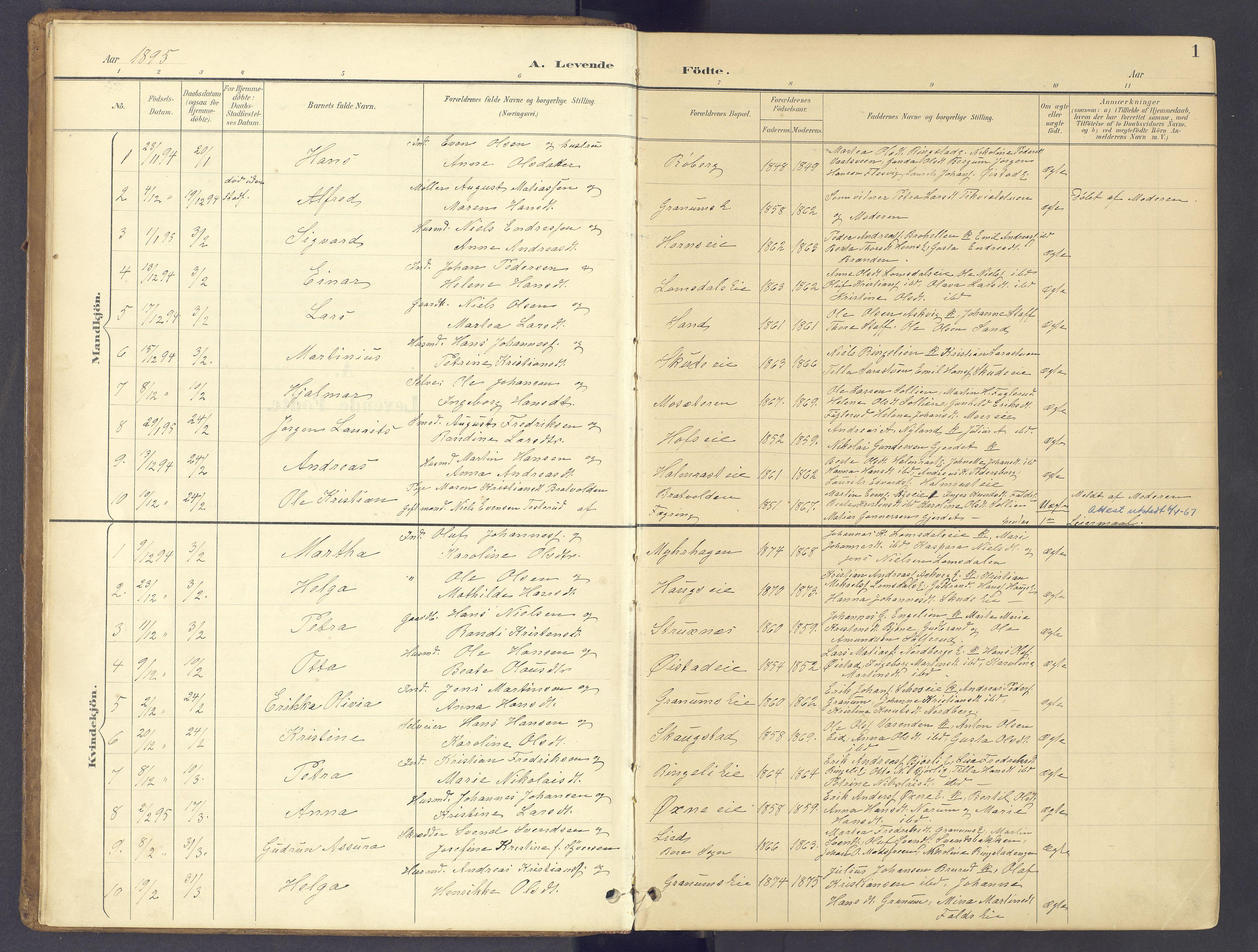 SAH, Søndre Land prestekontor, K/L0006: Ministerialbok nr. 6, 1895-1904, s. 1
