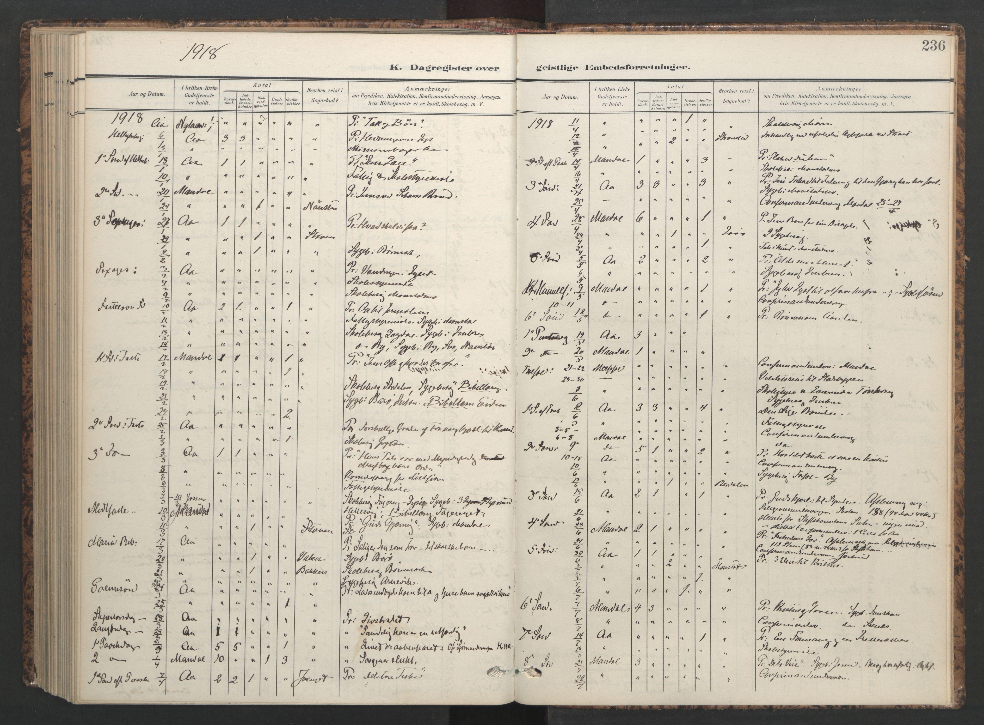 SAT, Ministerialprotokoller, klokkerbøker og fødselsregistre - Sør-Trøndelag, 655/L0682: Ministerialbok nr. 655A11, 1908-1922, s. 236