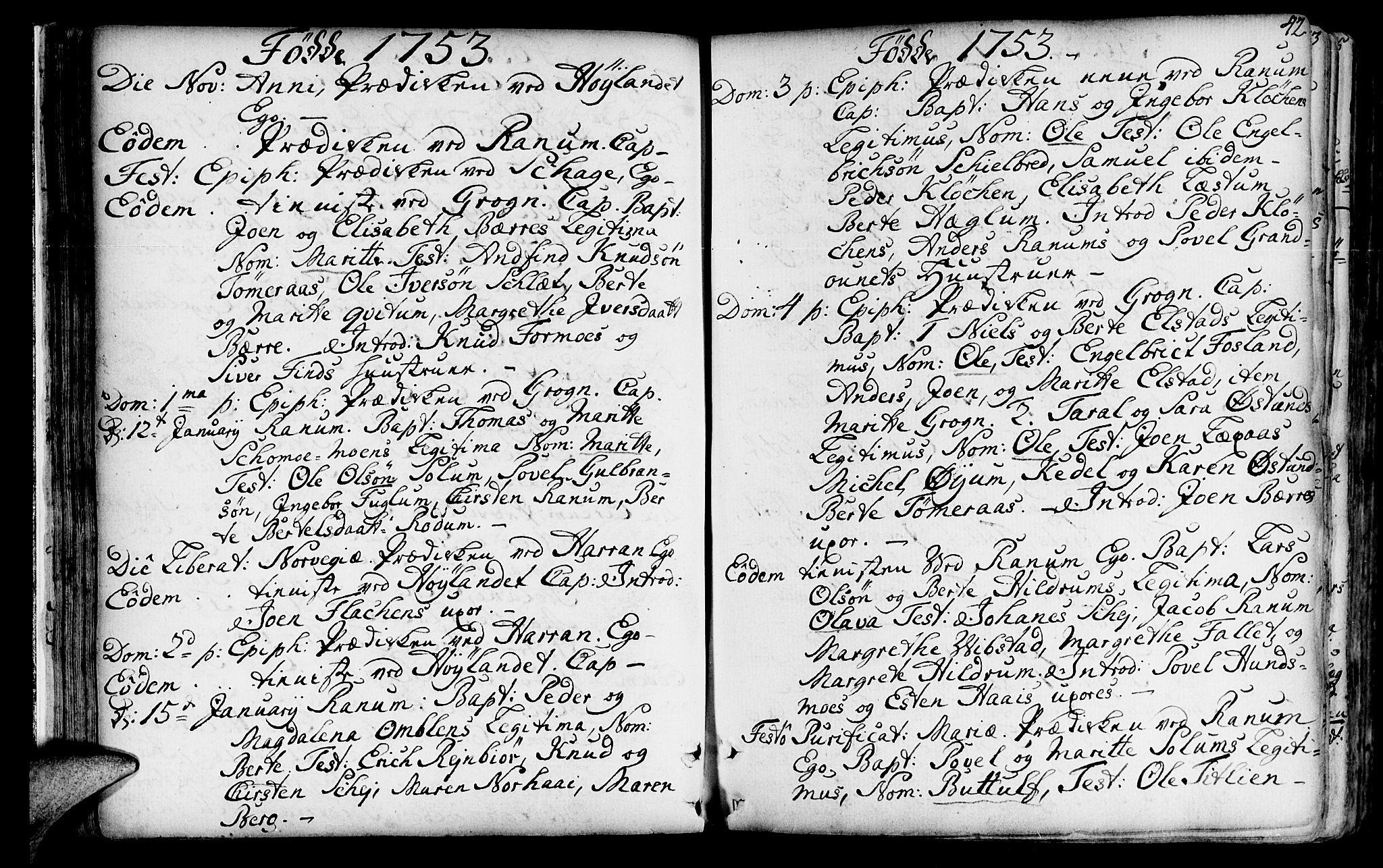 SAT, Ministerialprotokoller, klokkerbøker og fødselsregistre - Nord-Trøndelag, 764/L0542: Ministerialbok nr. 764A02, 1748-1779, s. 42