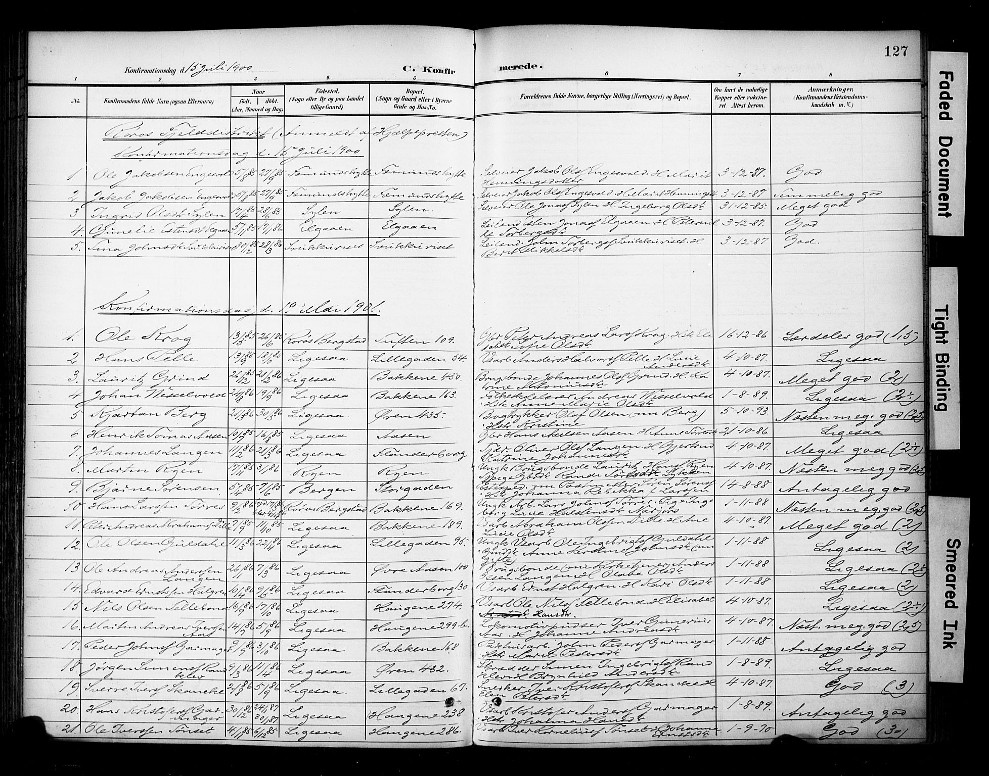 SAT, Ministerialprotokoller, klokkerbøker og fødselsregistre - Sør-Trøndelag, 681/L0936: Ministerialbok nr. 681A14, 1899-1908, s. 127