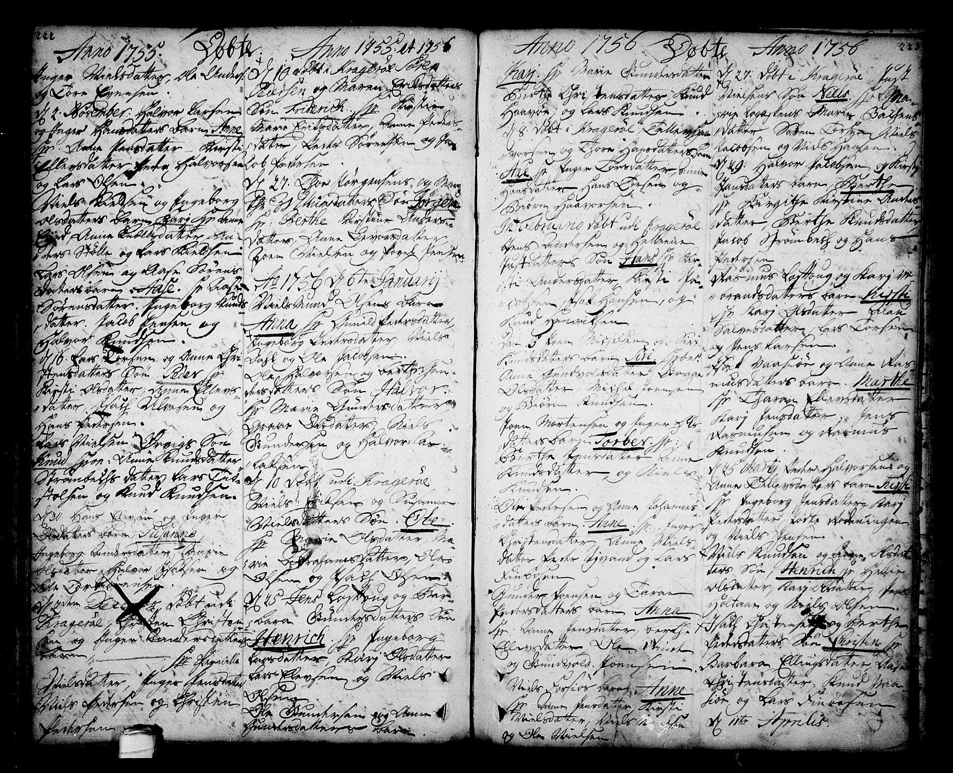 SAKO, Sannidal kirkebøker, F/Fa/L0001: Ministerialbok nr. 1, 1702-1766, s. 222-223