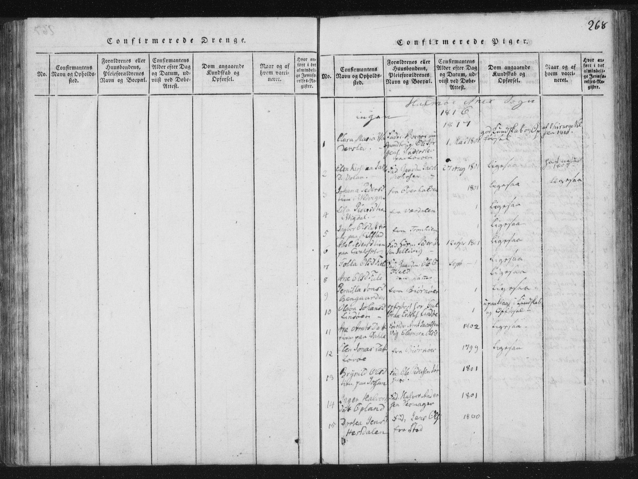 SAT, Ministerialprotokoller, klokkerbøker og fødselsregistre - Nord-Trøndelag, 773/L0609: Ministerialbok nr. 773A03 /3, 1815-1830, s. 268