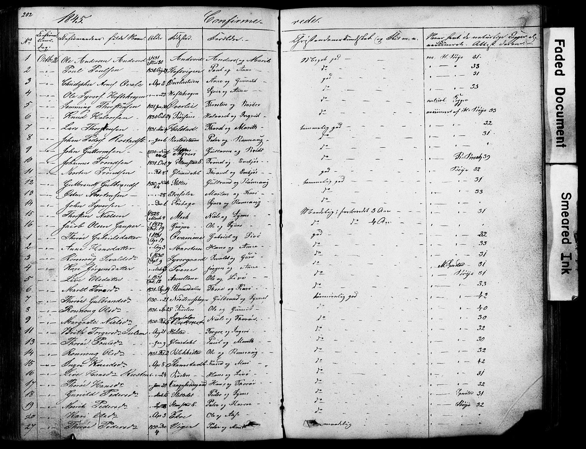 SAH, Lom prestekontor, L/L0012: Klokkerbok nr. 12, 1845-1873, s. 202-203