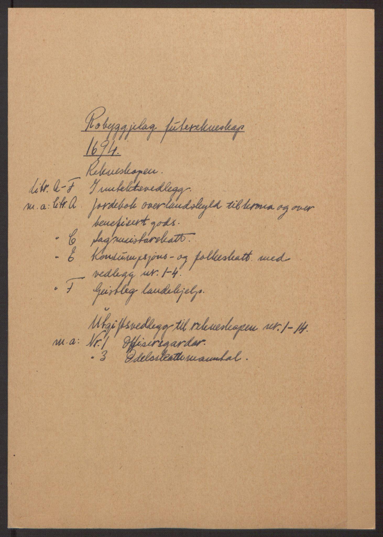 RA, Rentekammeret inntil 1814, Reviderte regnskaper, Fogderegnskap, R40/L2444: Fogderegnskap Råbyggelag, 1693-1696, s. 82