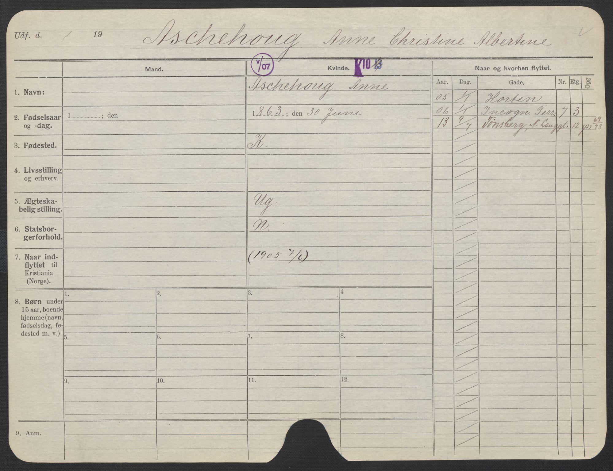 SAO, Oslo folkeregister, Registerkort, F/Fa/Fac/L0012: Kvinner, 1906-1914, s. 1101a