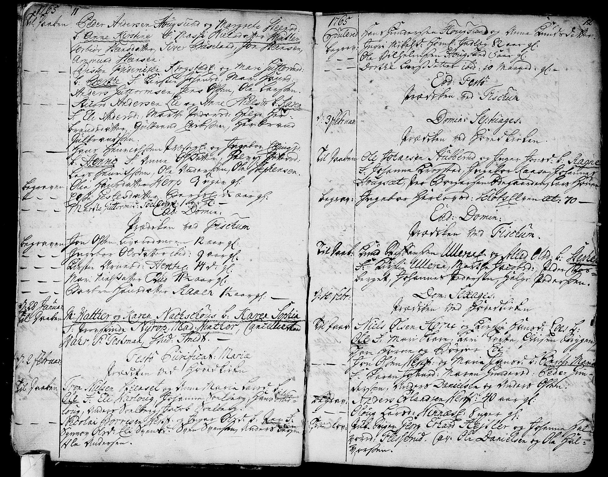SAKO, Eiker kirkebøker, F/Fa/L0008: Ministerialbok nr. I 8, 1764-1788, s. 11-12