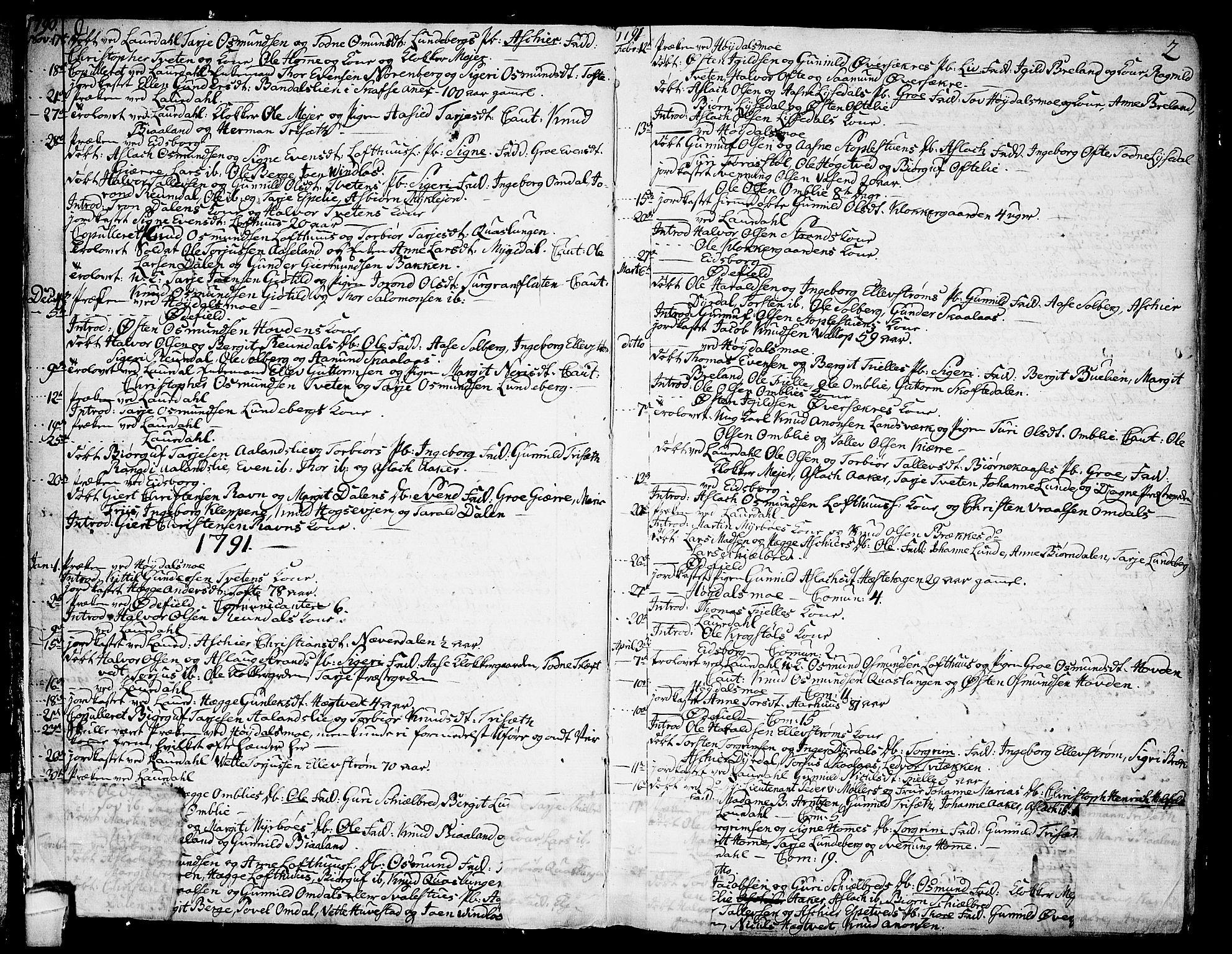 SAKO, Lårdal kirkebøker, F/Fa/L0004: Ministerialbok nr. I 4, 1790-1814, s. 2