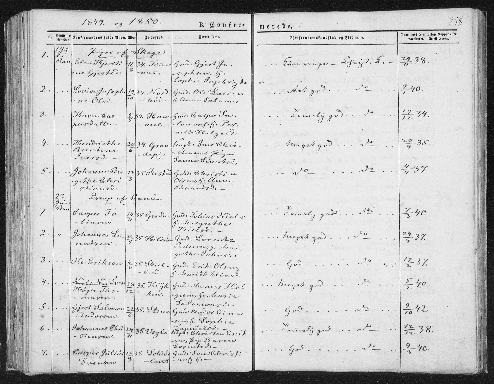 SAT, Ministerialprotokoller, klokkerbøker og fødselsregistre - Nord-Trøndelag, 764/L0551: Ministerialbok nr. 764A07a, 1824-1864, s. 258