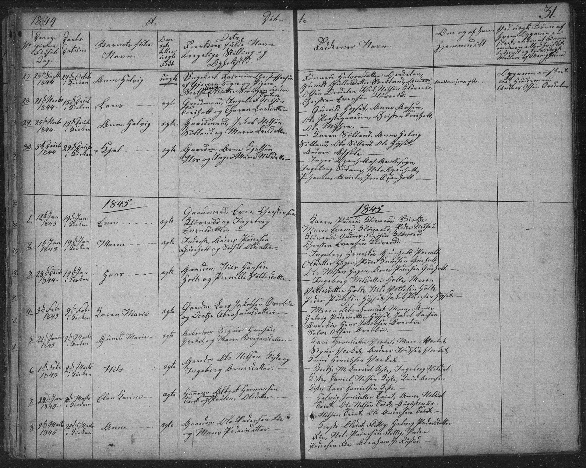 SAKO, Siljan kirkebøker, F/Fa/L0001: Ministerialbok nr. 1, 1831-1870, s. 31