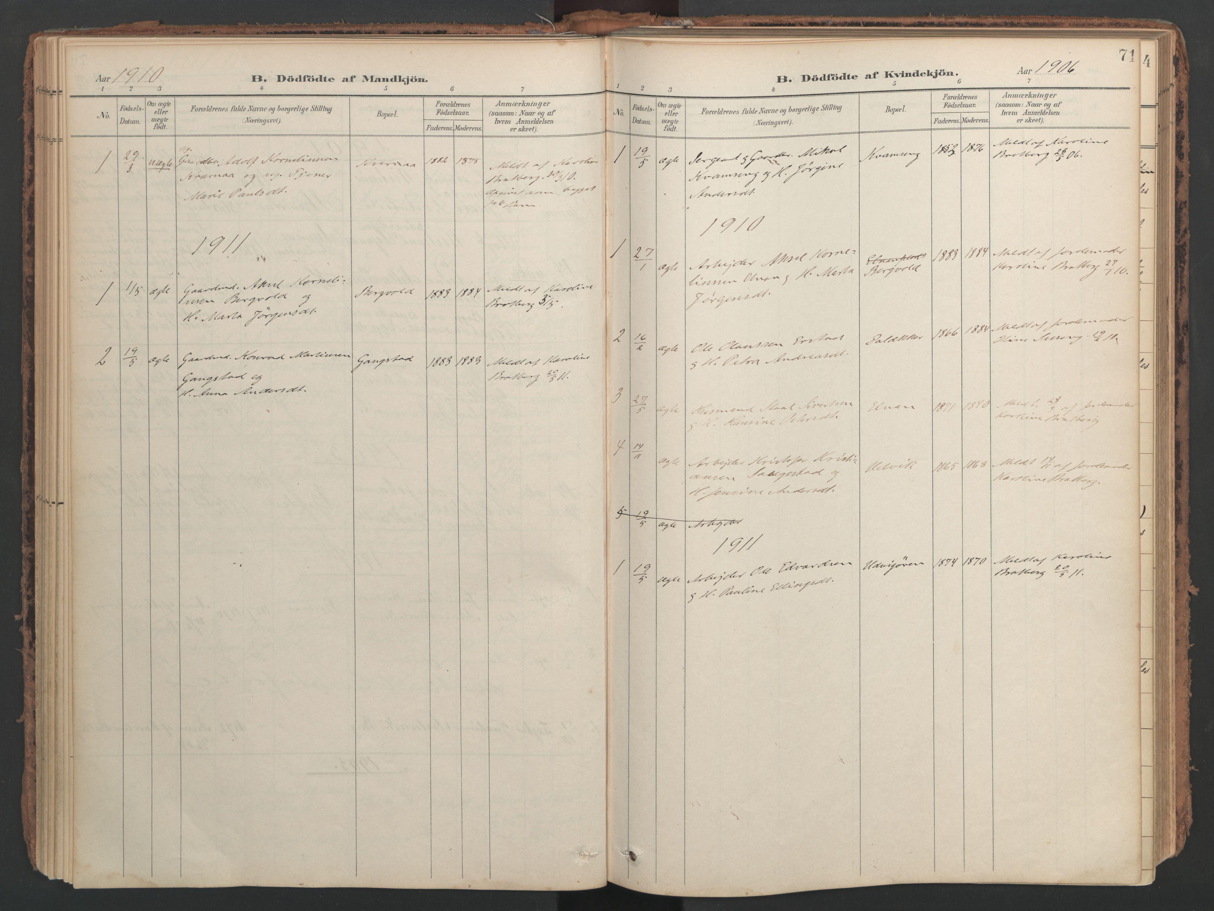 SAT, Ministerialprotokoller, klokkerbøker og fødselsregistre - Nord-Trøndelag, 741/L0397: Ministerialbok nr. 741A11, 1901-1911, s. 71