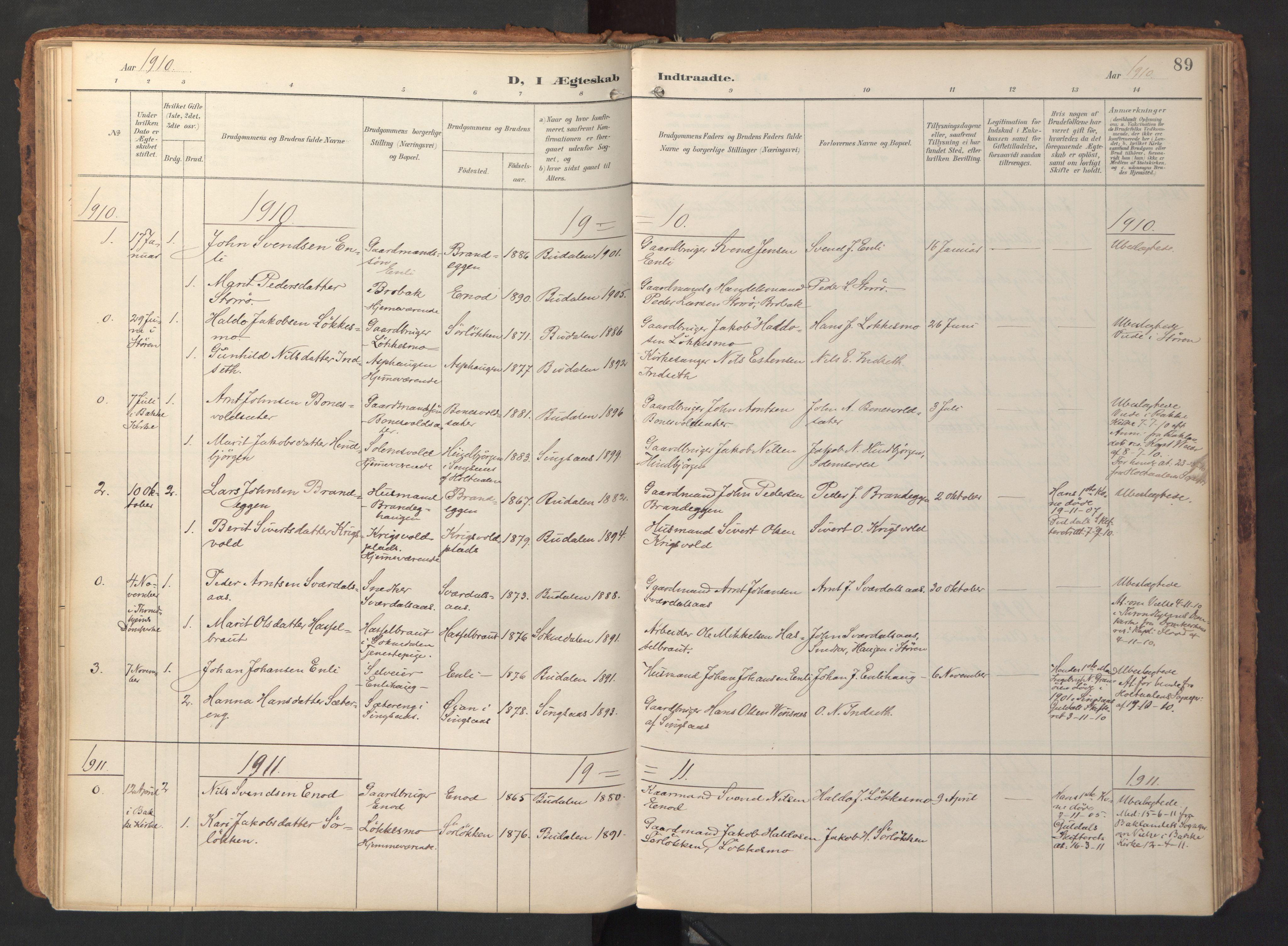 SAT, Ministerialprotokoller, klokkerbøker og fødselsregistre - Sør-Trøndelag, 690/L1050: Ministerialbok nr. 690A01, 1889-1929, s. 89