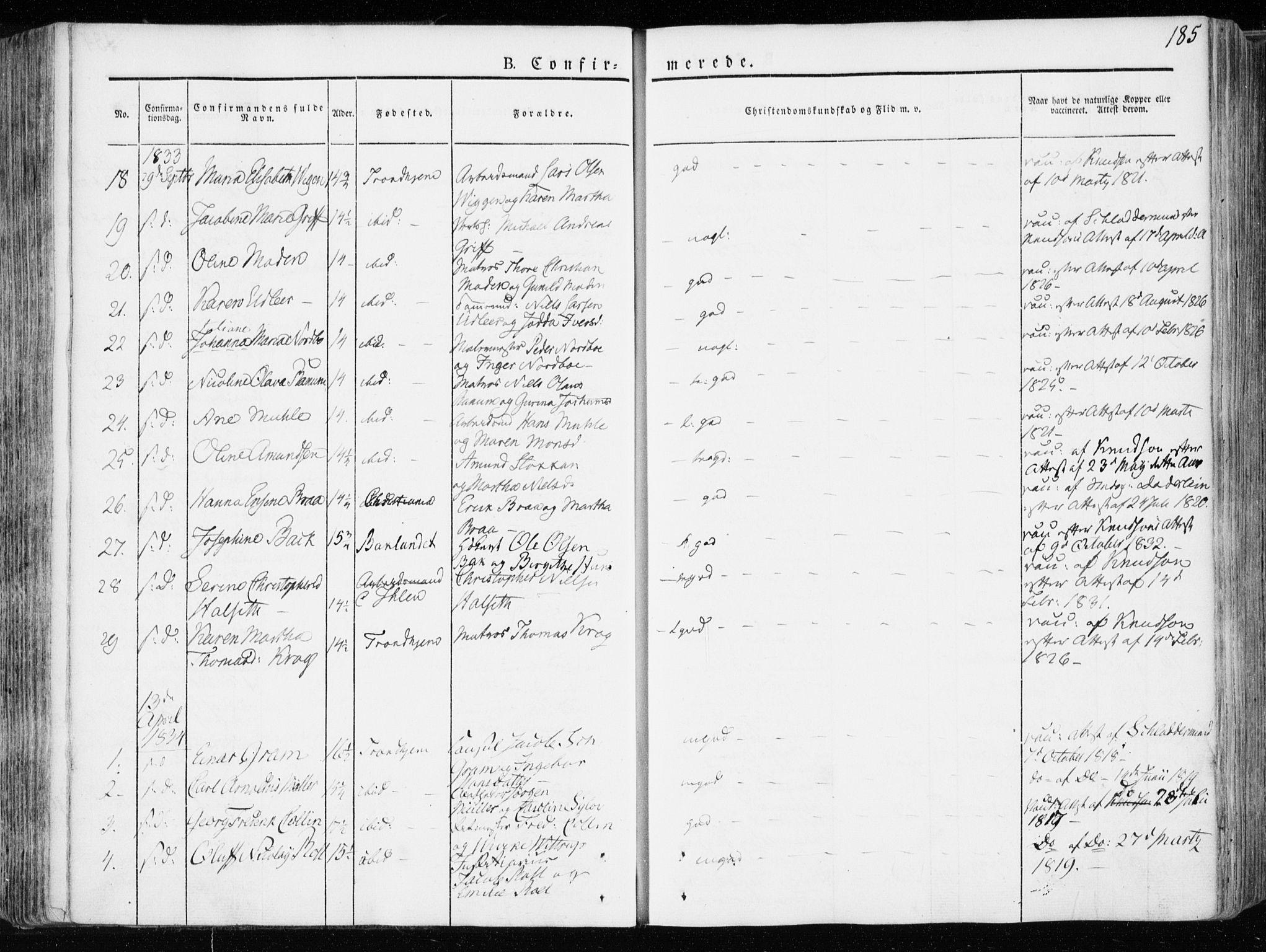 SAT, Ministerialprotokoller, klokkerbøker og fødselsregistre - Sør-Trøndelag, 601/L0047: Ministerialbok nr. 601A15, 1831-1839, s. 185