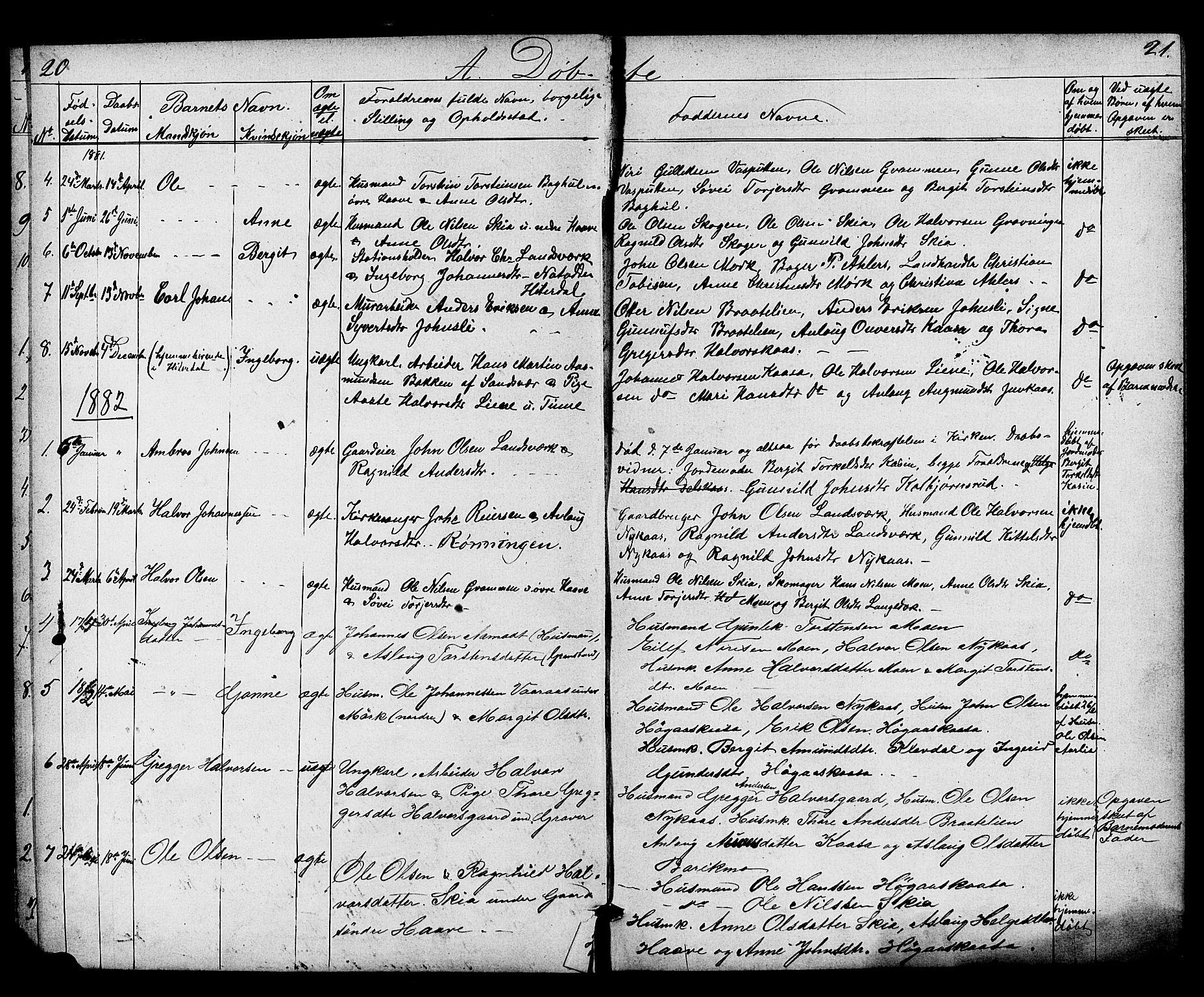 SAKO, Heddal kirkebøker, G/Gb/L0001: Klokkerbok nr. II 1, 1866-1887, s. 20-21