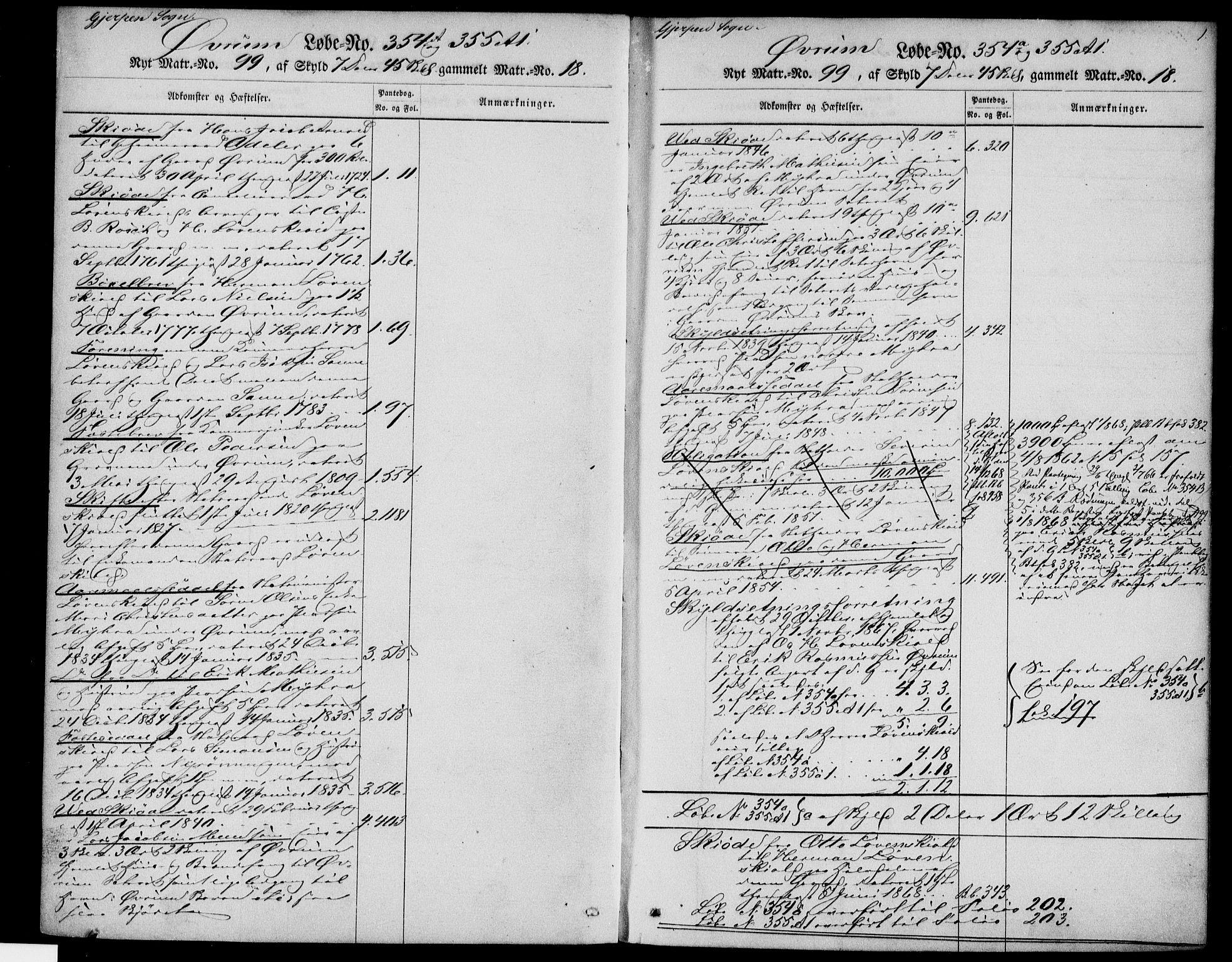 SAKO, Gjerpen sorenskriveri, G/Gb/Gba/L0002: Panteregister nr. I 2, s. 1