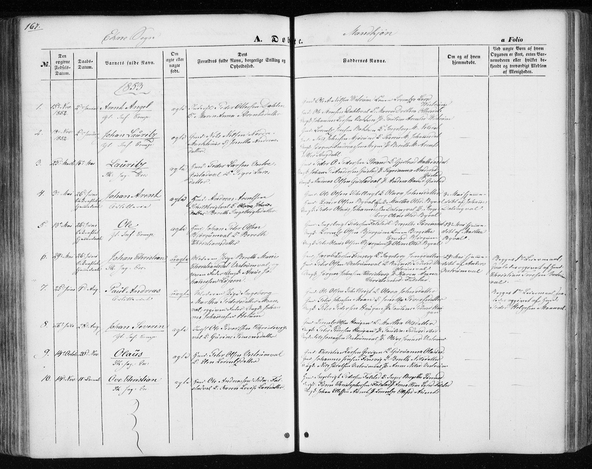 SAT, Ministerialprotokoller, klokkerbøker og fødselsregistre - Nord-Trøndelag, 717/L0154: Ministerialbok nr. 717A07 /3, 1850-1862, s. 167