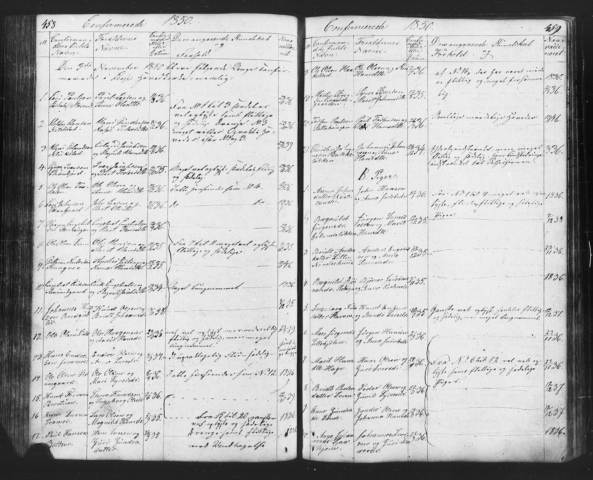 SAH, Lesja prestekontor, Klokkerbok nr. 2, 1832-1850, s. 458-459