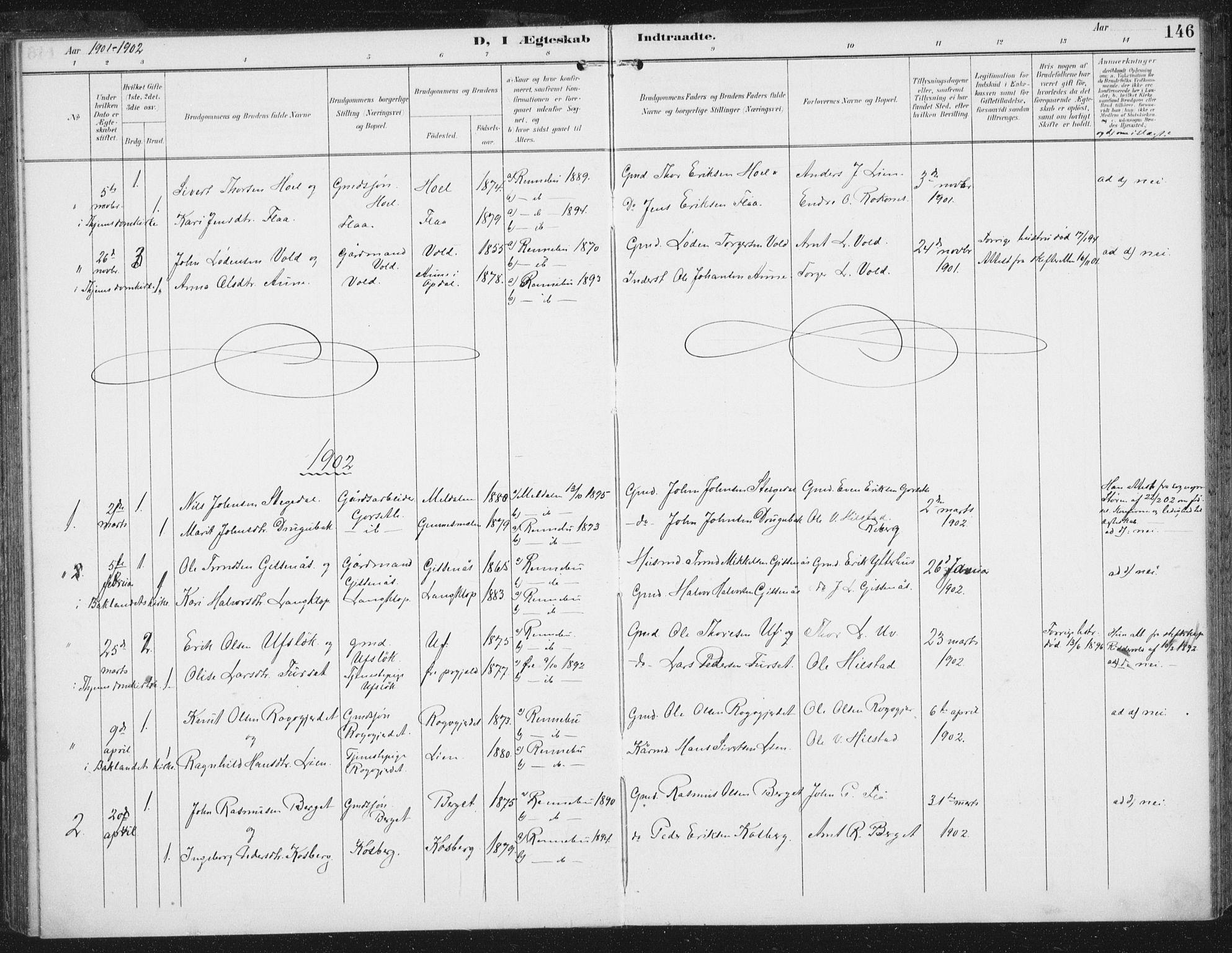 SAT, Ministerialprotokoller, klokkerbøker og fødselsregistre - Sør-Trøndelag, 674/L0872: Ministerialbok nr. 674A04, 1897-1907, s. 146