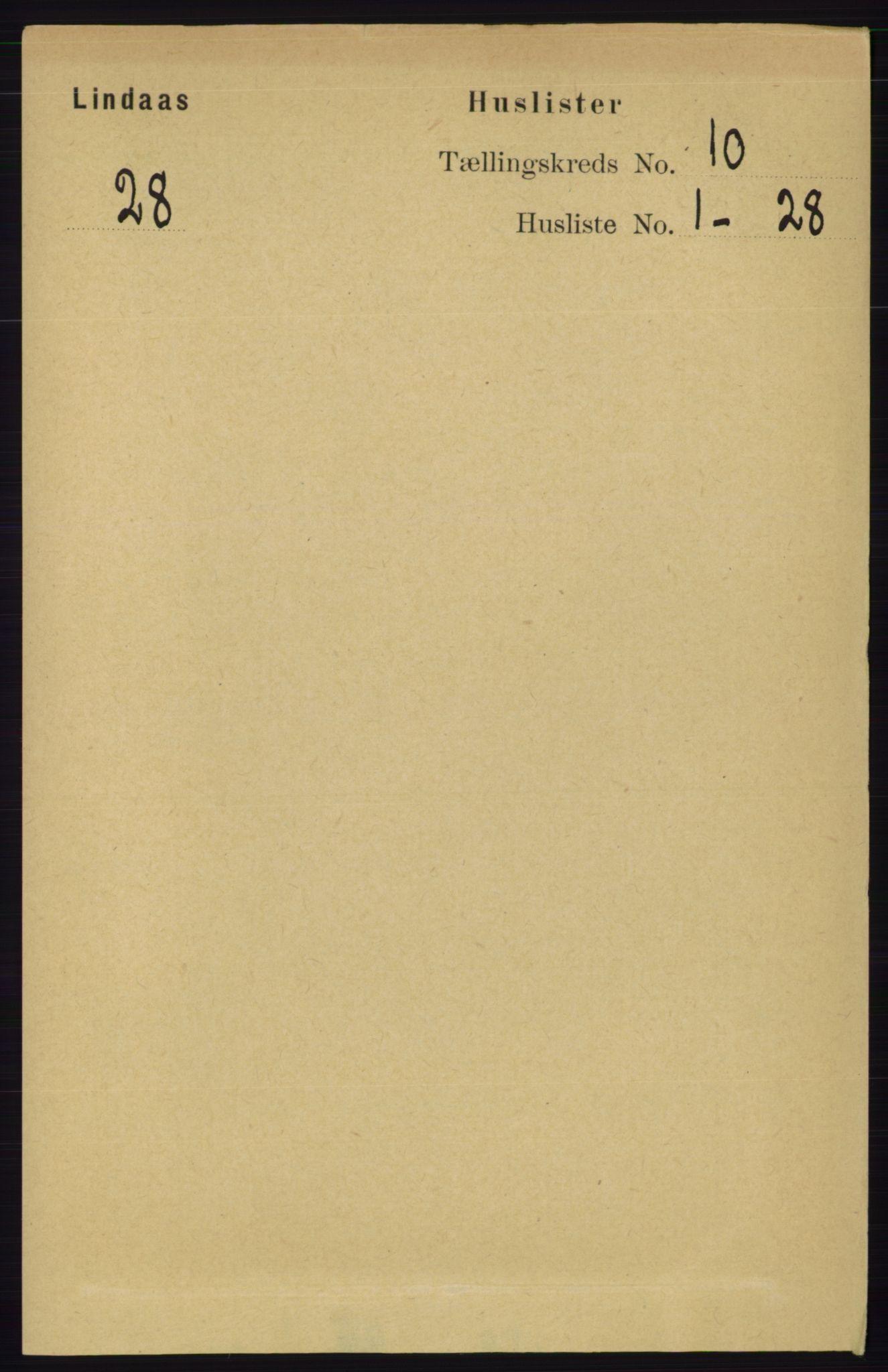 RA, Folketelling 1891 for 1263 Lindås herred, 1891, s. 3374