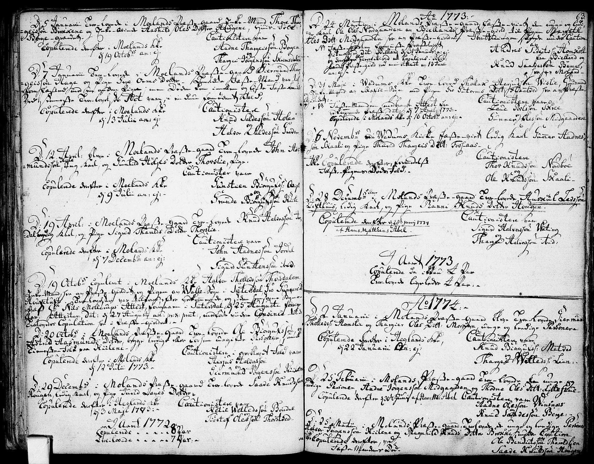 SAKO, Fyresdal kirkebøker, F/Fa/L0002: Ministerialbok nr. I 2, 1769-1814, s. 63