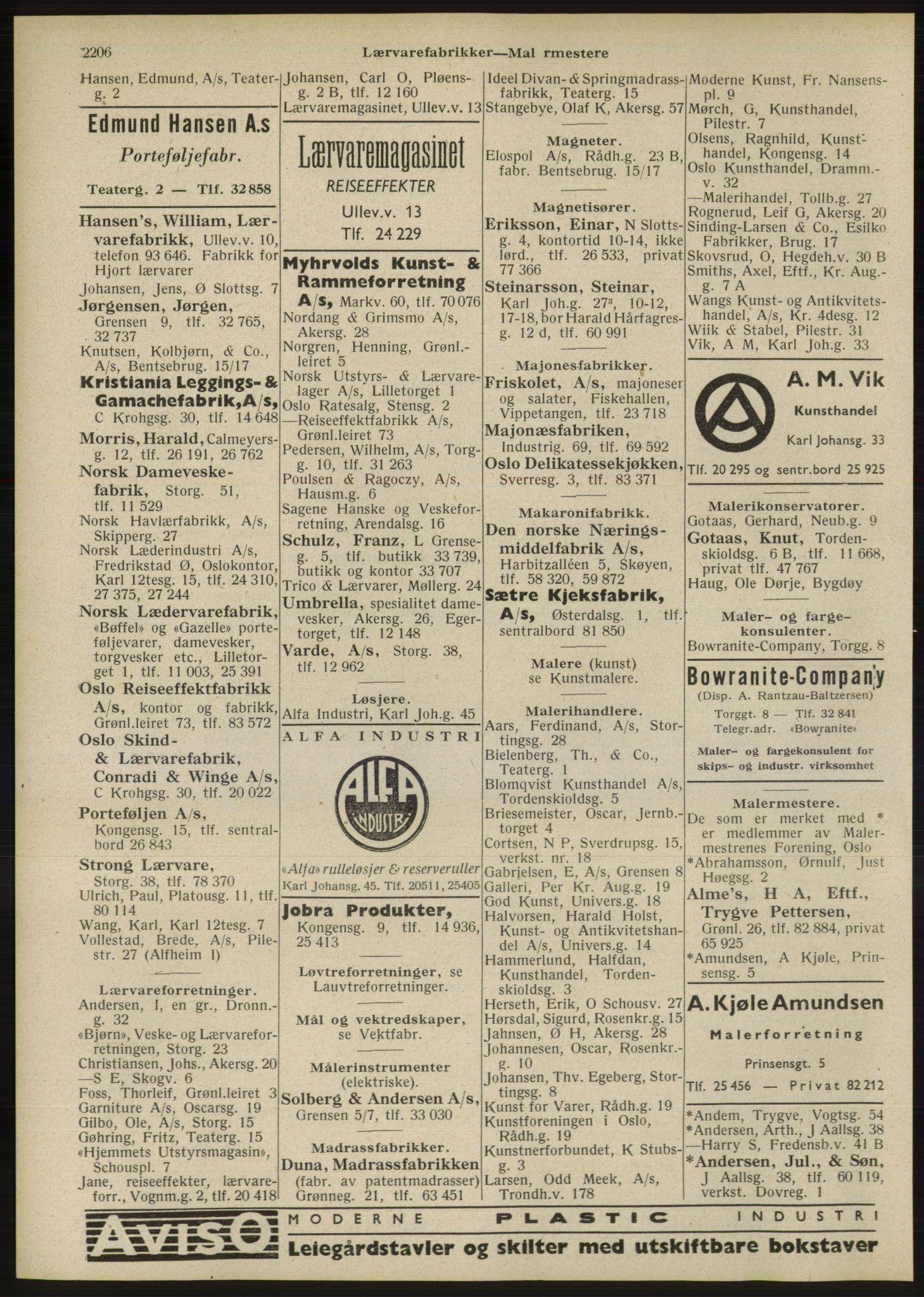 RA, Oslo adressebok (publikasjon)*, 1946, s. 2206