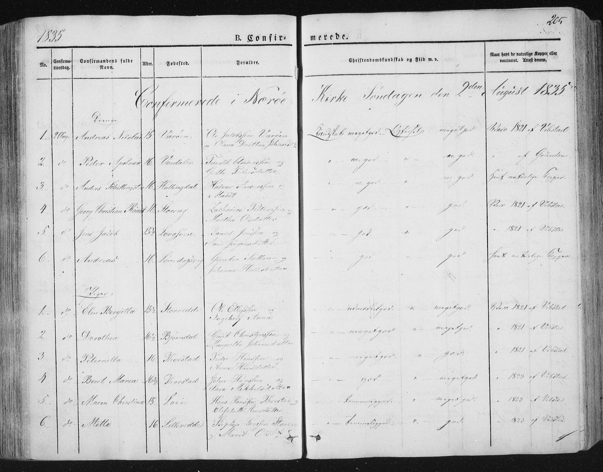 SAT, Ministerialprotokoller, klokkerbøker og fødselsregistre - Nord-Trøndelag, 784/L0669: Ministerialbok nr. 784A04, 1829-1859, s. 205