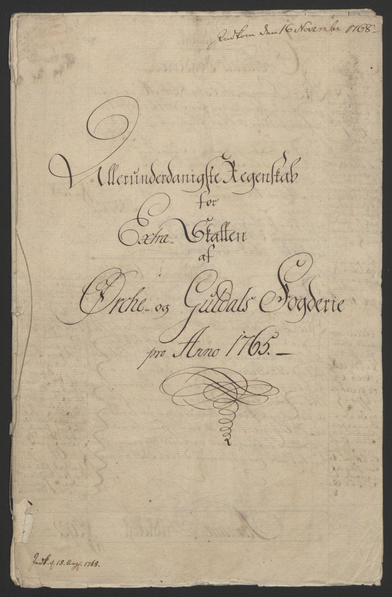RA, Rentekammeret inntil 1814, Reviderte regnskaper, Fogderegnskap, R60/L4094: Ekstraskatten Orkdal og Gauldal, 1762-1765, s. 221