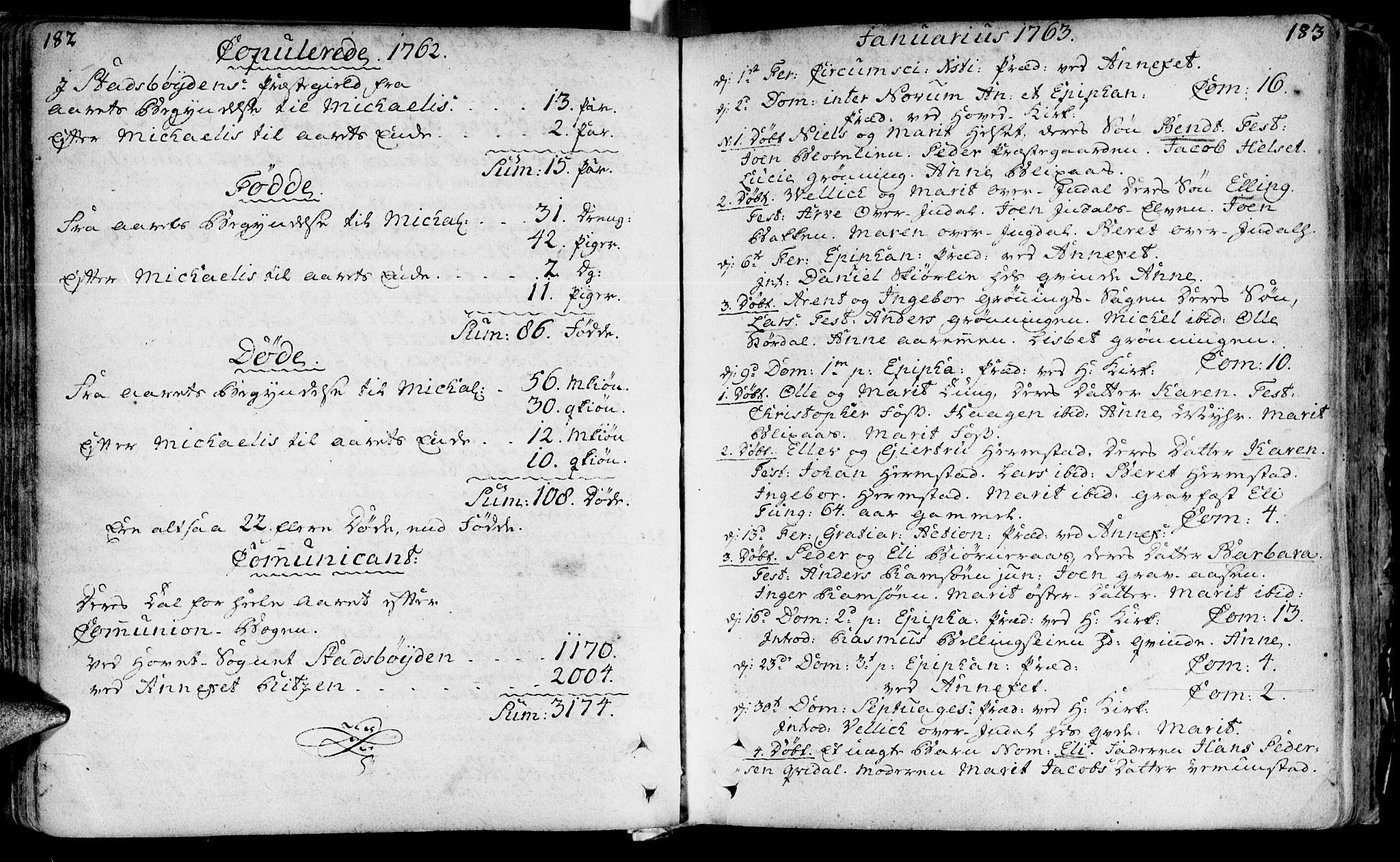 SAT, Ministerialprotokoller, klokkerbøker og fødselsregistre - Sør-Trøndelag, 646/L0605: Ministerialbok nr. 646A03, 1751-1790, s. 182-183