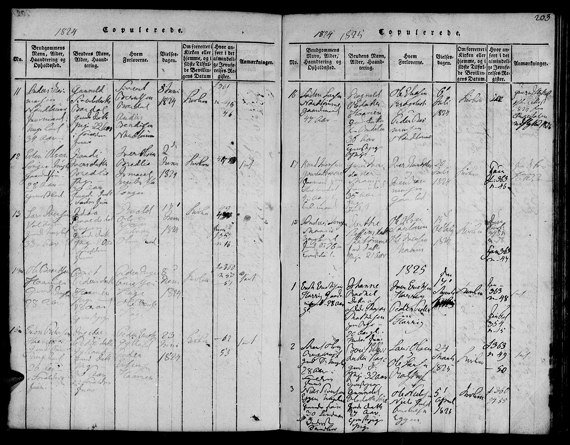 SAT, Ministerialprotokoller, klokkerbøker og fødselsregistre - Sør-Trøndelag, 692/L1102: Ministerialbok nr. 692A02, 1816-1842, s. 203