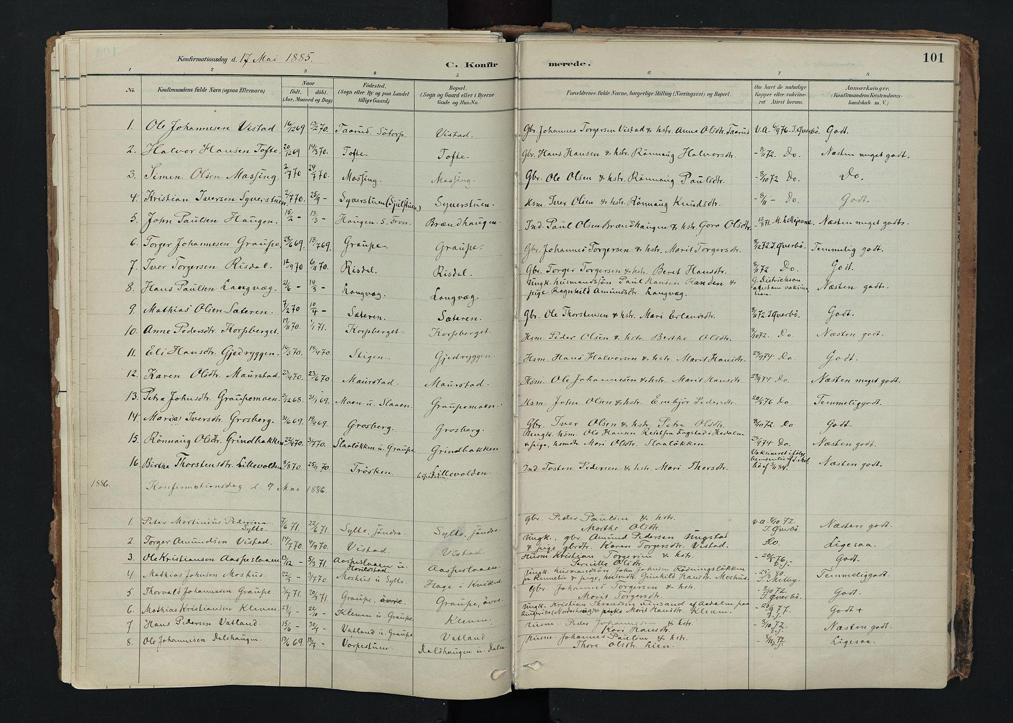 SAH, Nord-Fron prestekontor, Ministerialbok nr. 5, 1884-1914, s. 101