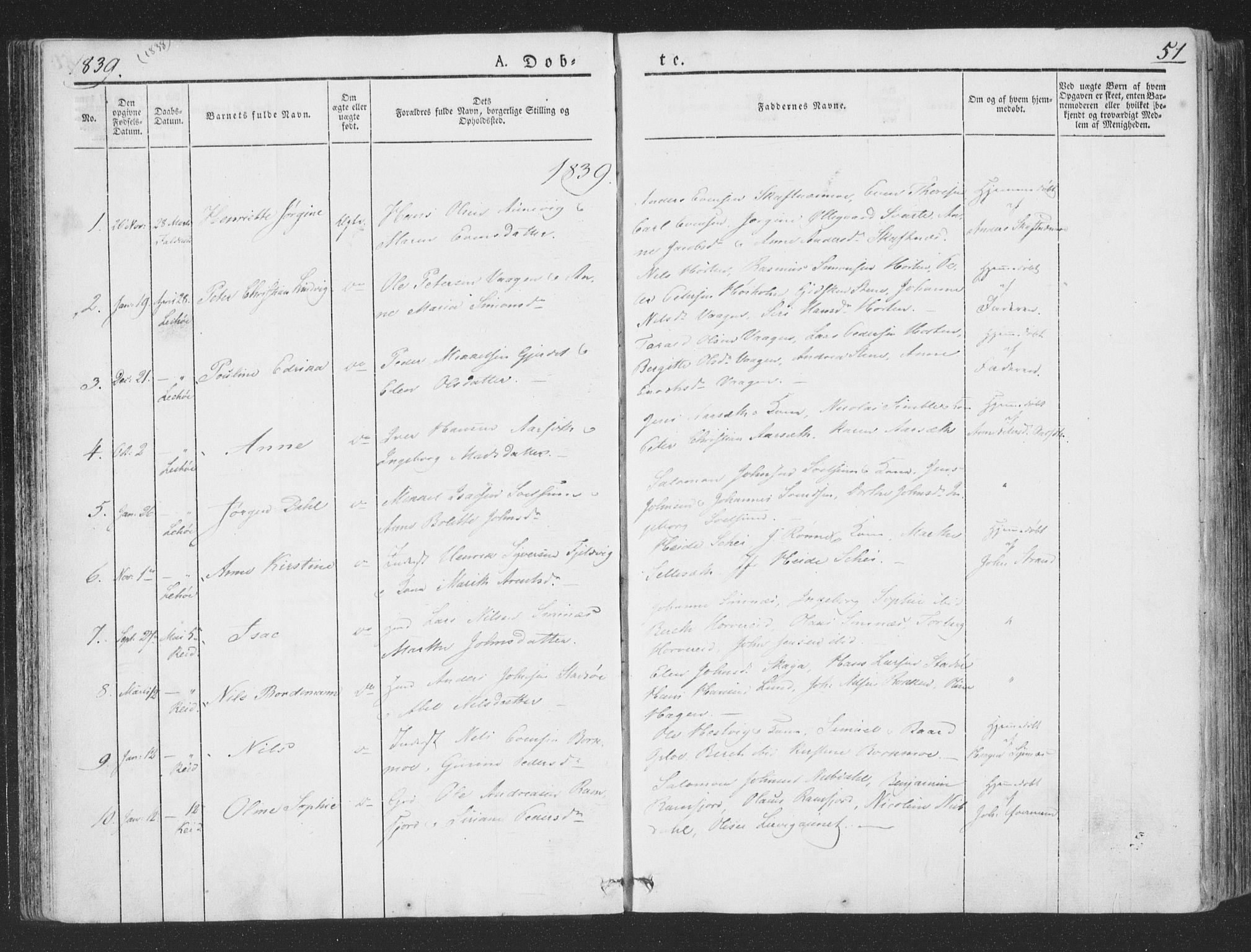 SAT, Ministerialprotokoller, klokkerbøker og fødselsregistre - Nord-Trøndelag, 780/L0639: Ministerialbok nr. 780A04, 1830-1844, s. 51