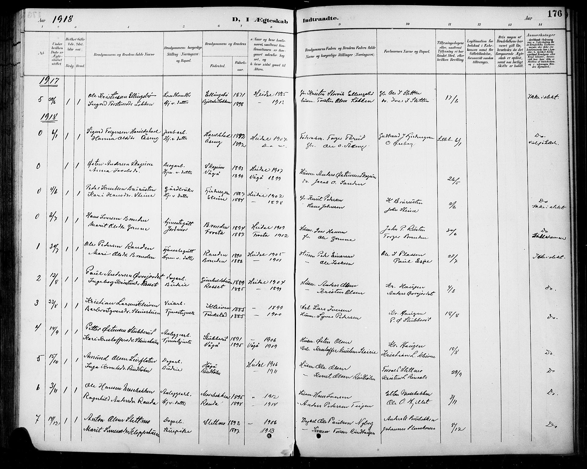 SAH, Sel prestekontor, Klokkerbok nr. 5, 1894-1923, s. 176